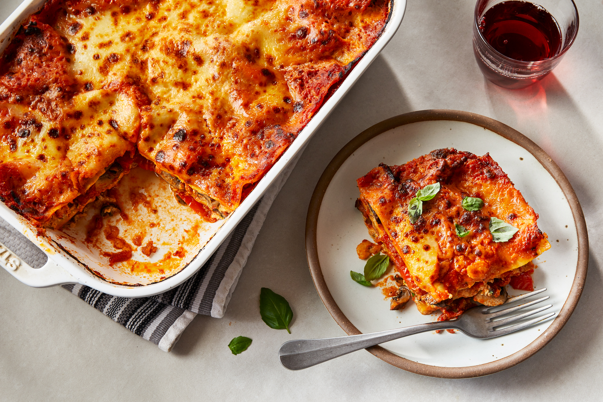 Three Cheese Lasagna with Roasted Red Peppers and Mushrooms Recipe