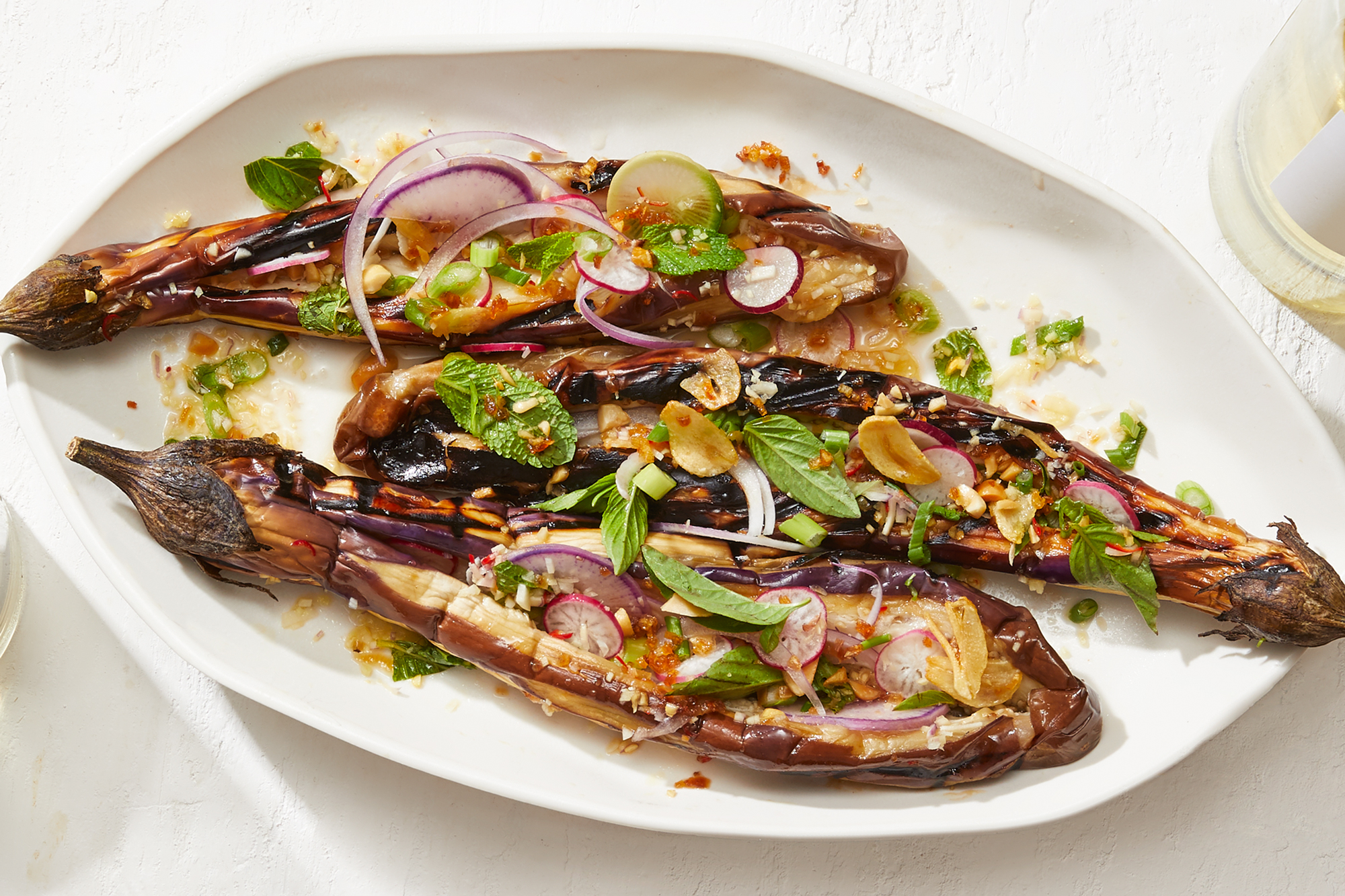 Fairy Tale Eggplant with Crispy Shallots and Thai Dressing