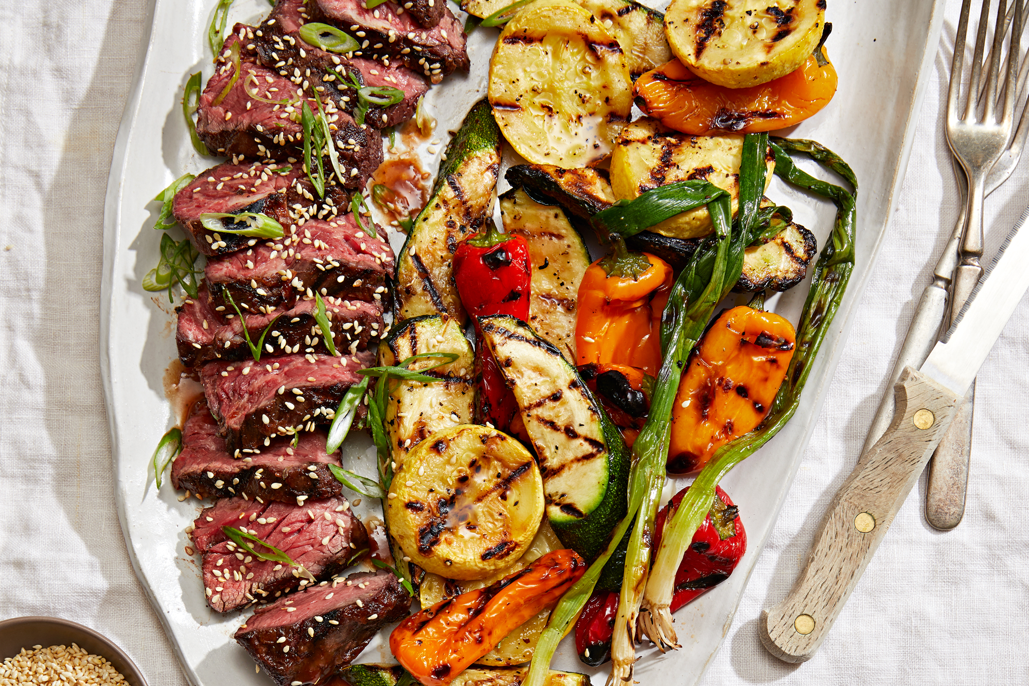 Hanger Steak with Kimchi Glaze and Miso Butter Grilled Vegetables Recipe