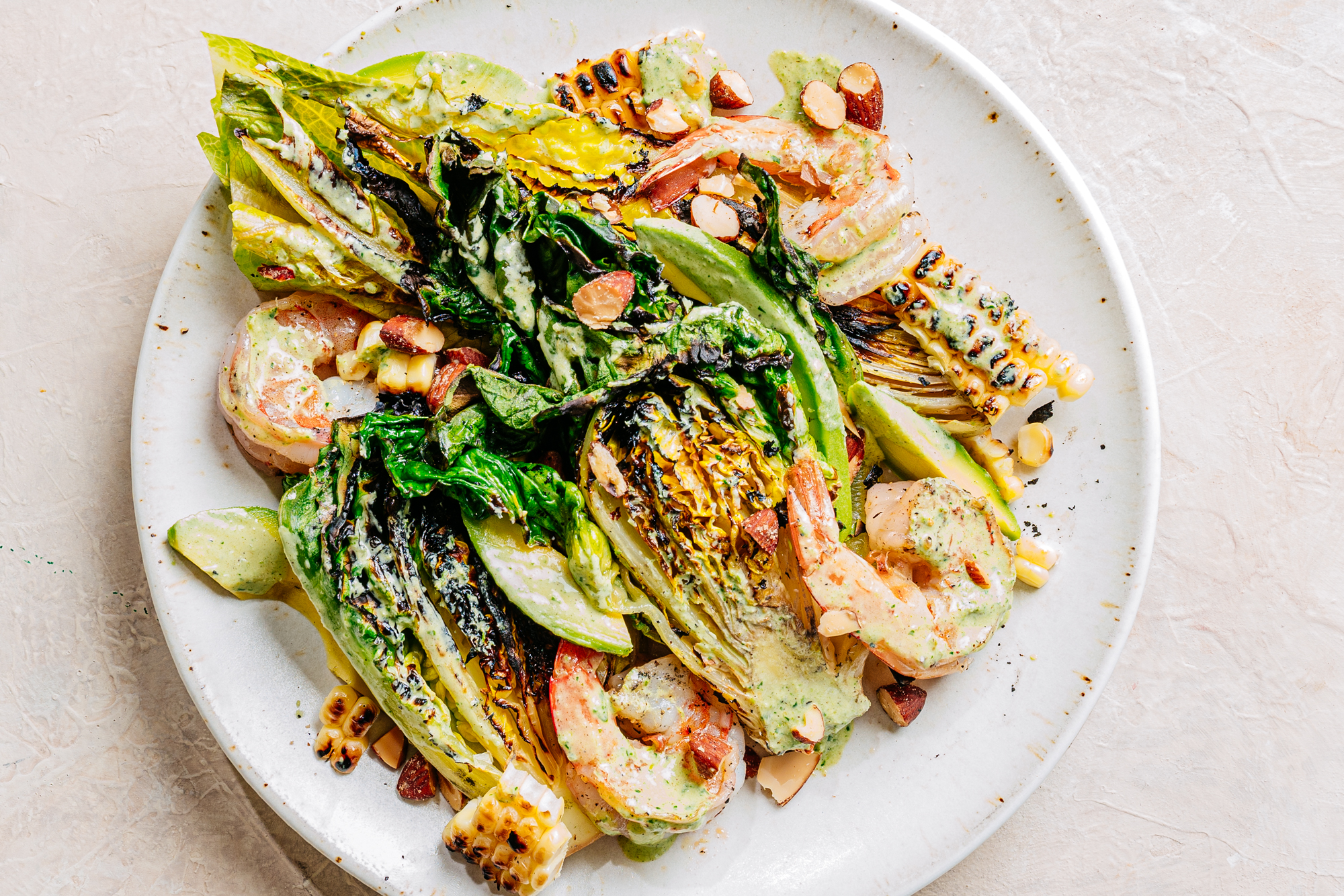Grilled Shrimp and Lettuces with Charred Green Goddess Dressing Recipe