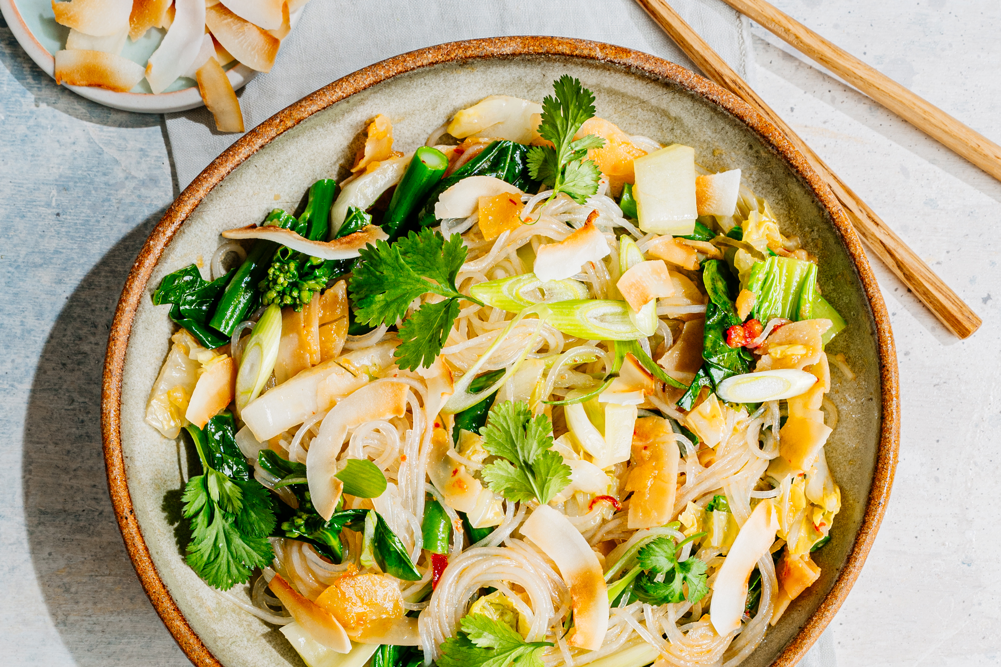 Mung Bean Vermicelli Salad with Spiced Coconut and Greens Recipe