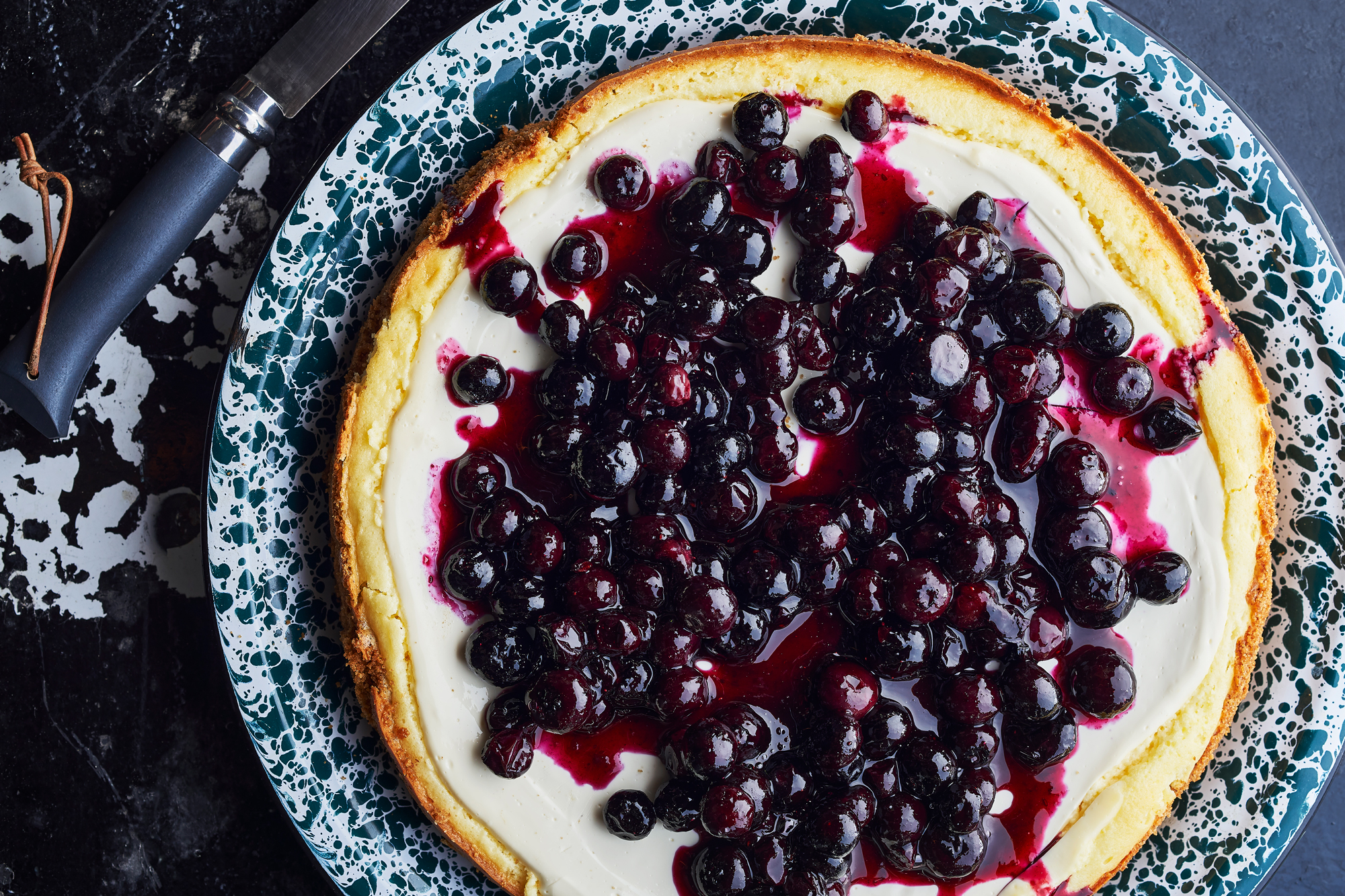 St. Louis Style Cheesecake with Blueberries Recipe