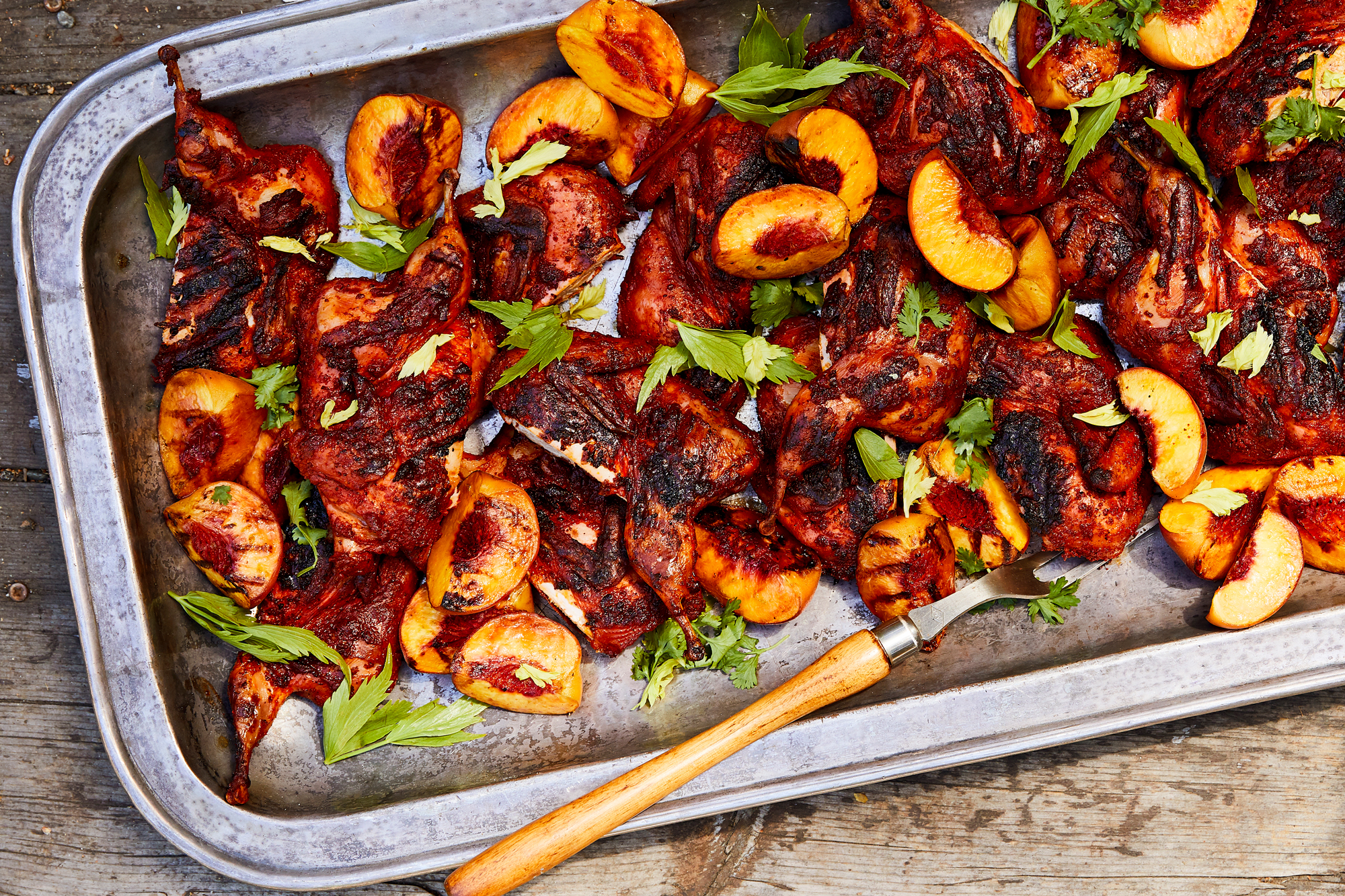 Achiote-Marinated Quail with Grilled Peaches