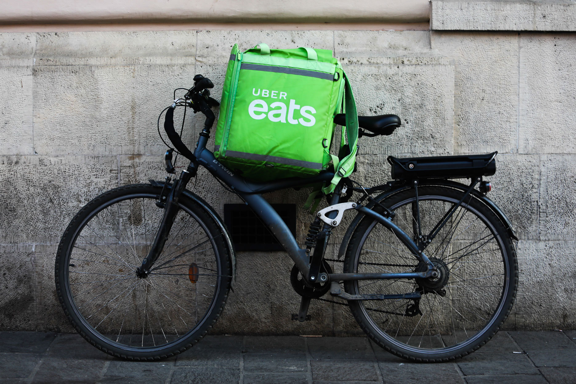 An Uber Eats delivery bicycle