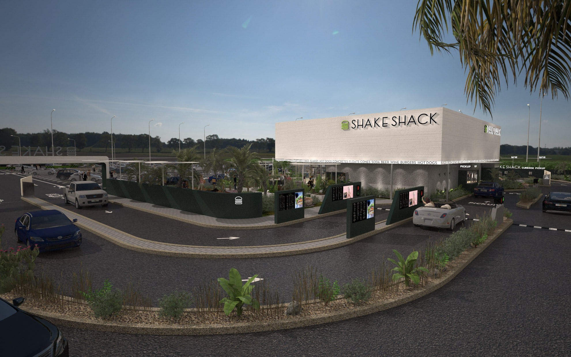 A rendering of the Shake Shack drive thru concept