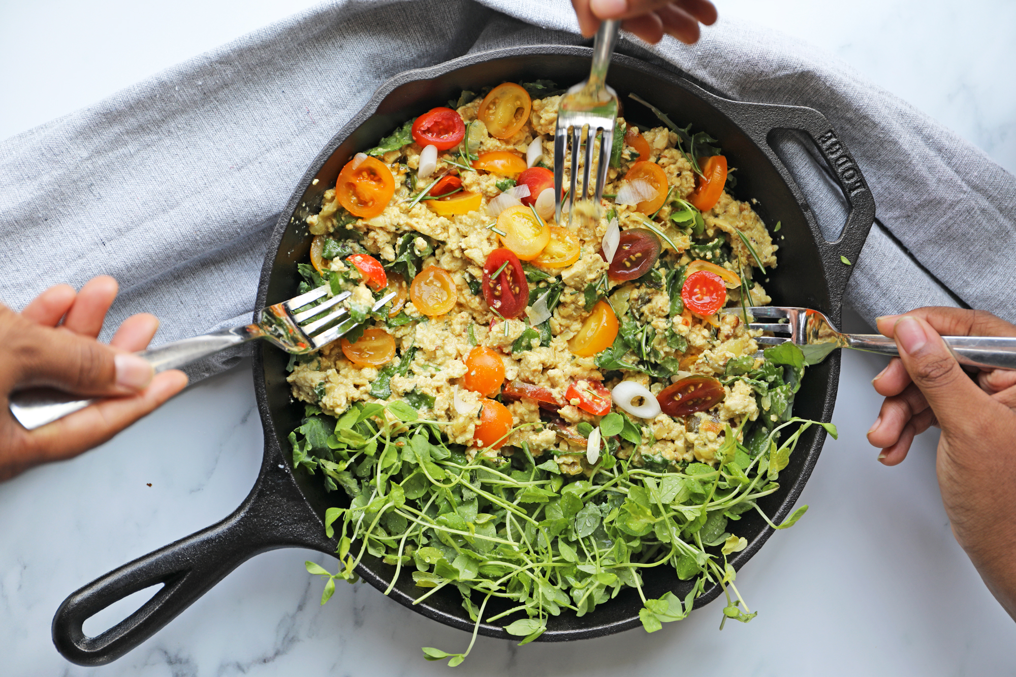 Cast Iron Skillet with Tofu Scrambled Eggs Recipe