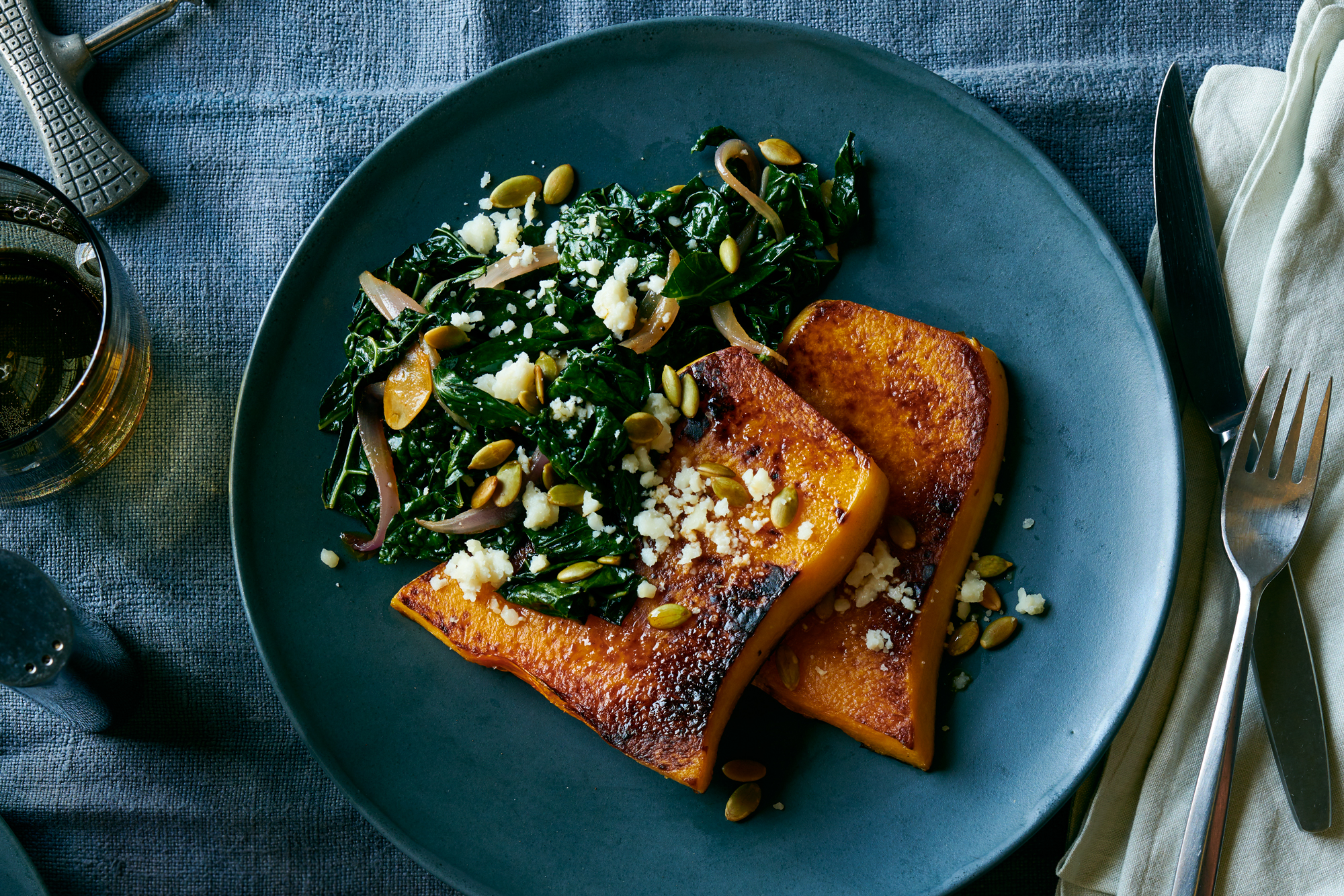 Roasted Butternut Squash with Chorizo Spiced Kale