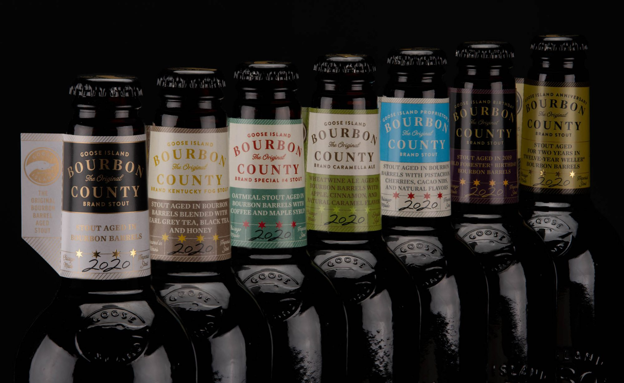 Lineup of Bourbon County Stout Bottles