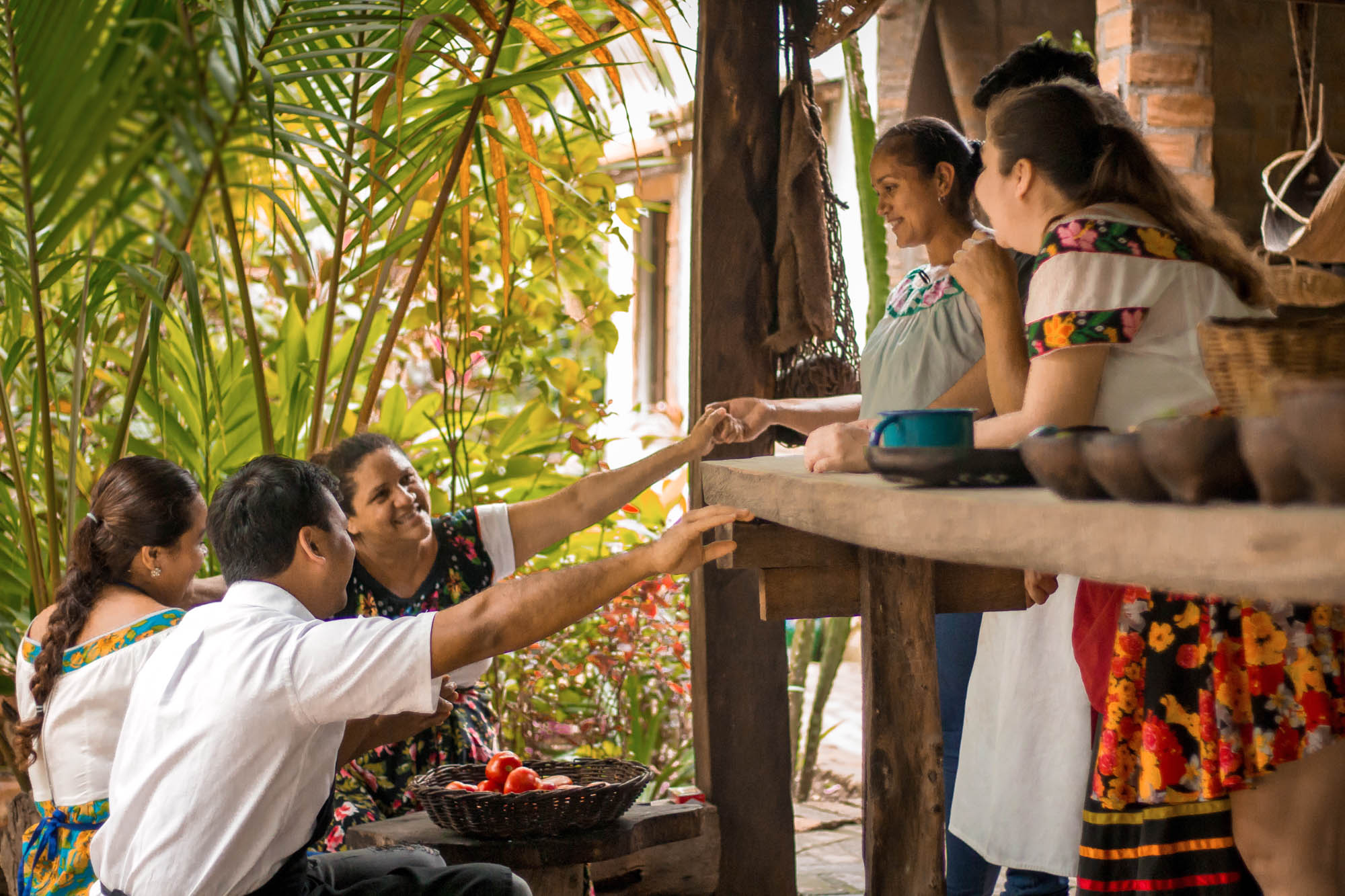 The magical interior dining room at Cocina Chontal in the Mexican jungle is adjacent to a larger open-air dining room where staff mingle with guests.
