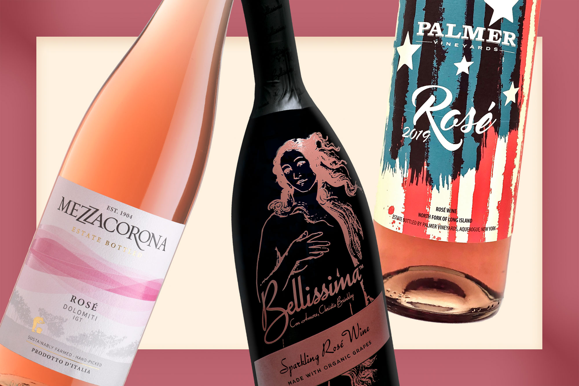 Bottles of Mezzacrona, Bellissima, and Palmer Rosé Wines