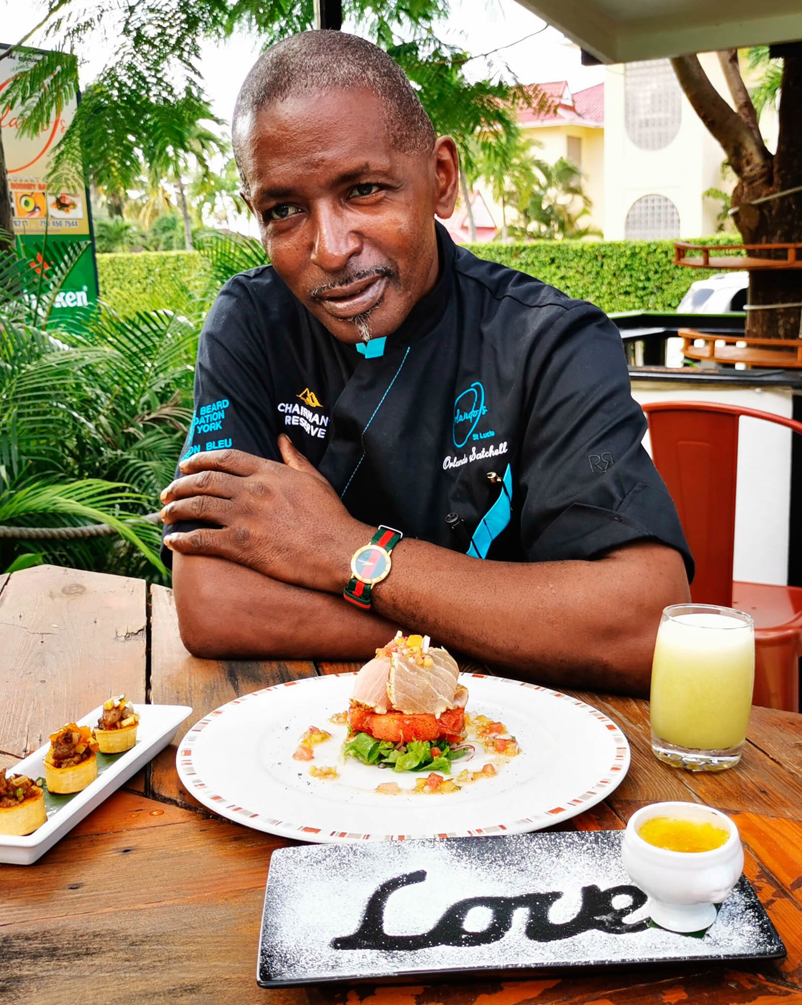 Caribbean culinary icon chef Orlando Satchell at his eponymous restaurant in Soufrière, Saint Lucia