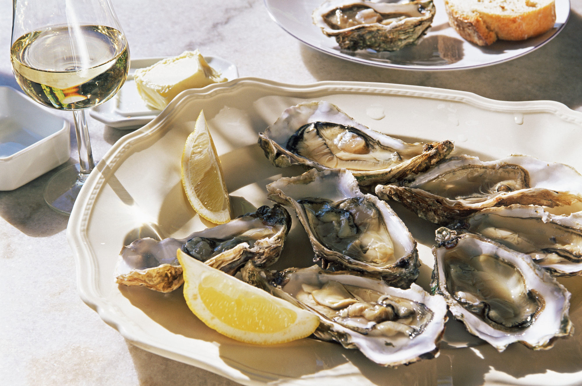 Platter of Raw Oysters with Lemon and a Glass of White Wine