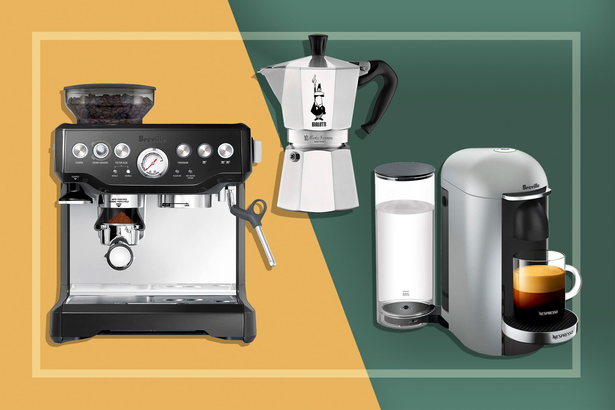Breville, Bialetti, and Nespresso Espresso Makers
