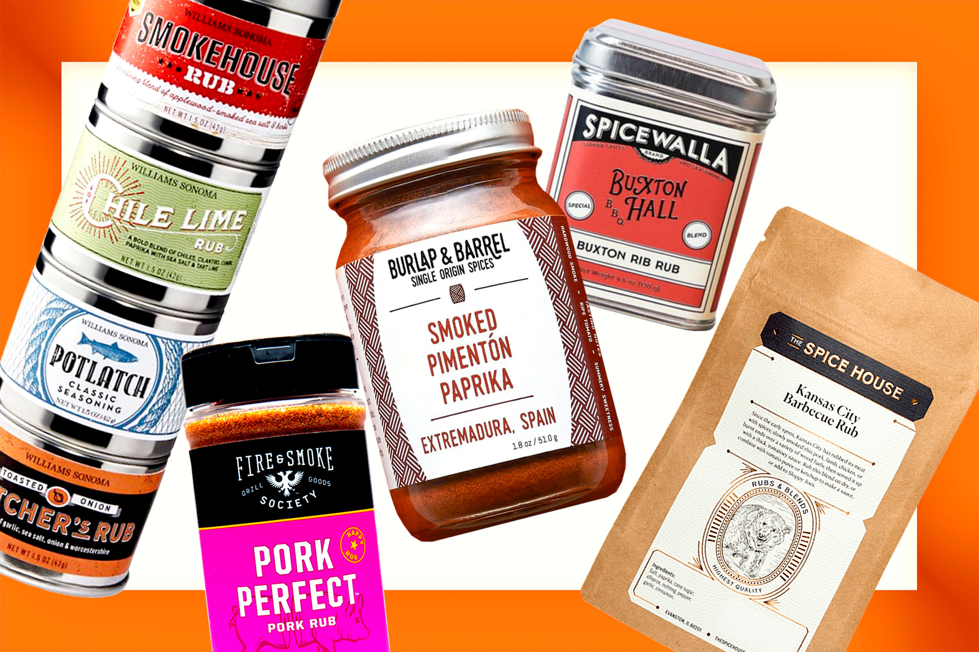 Barbecue spices from Williams Sonoma, Fire & Smoke Society, Burlap & Barrel, Spicewalla, and The Spice House