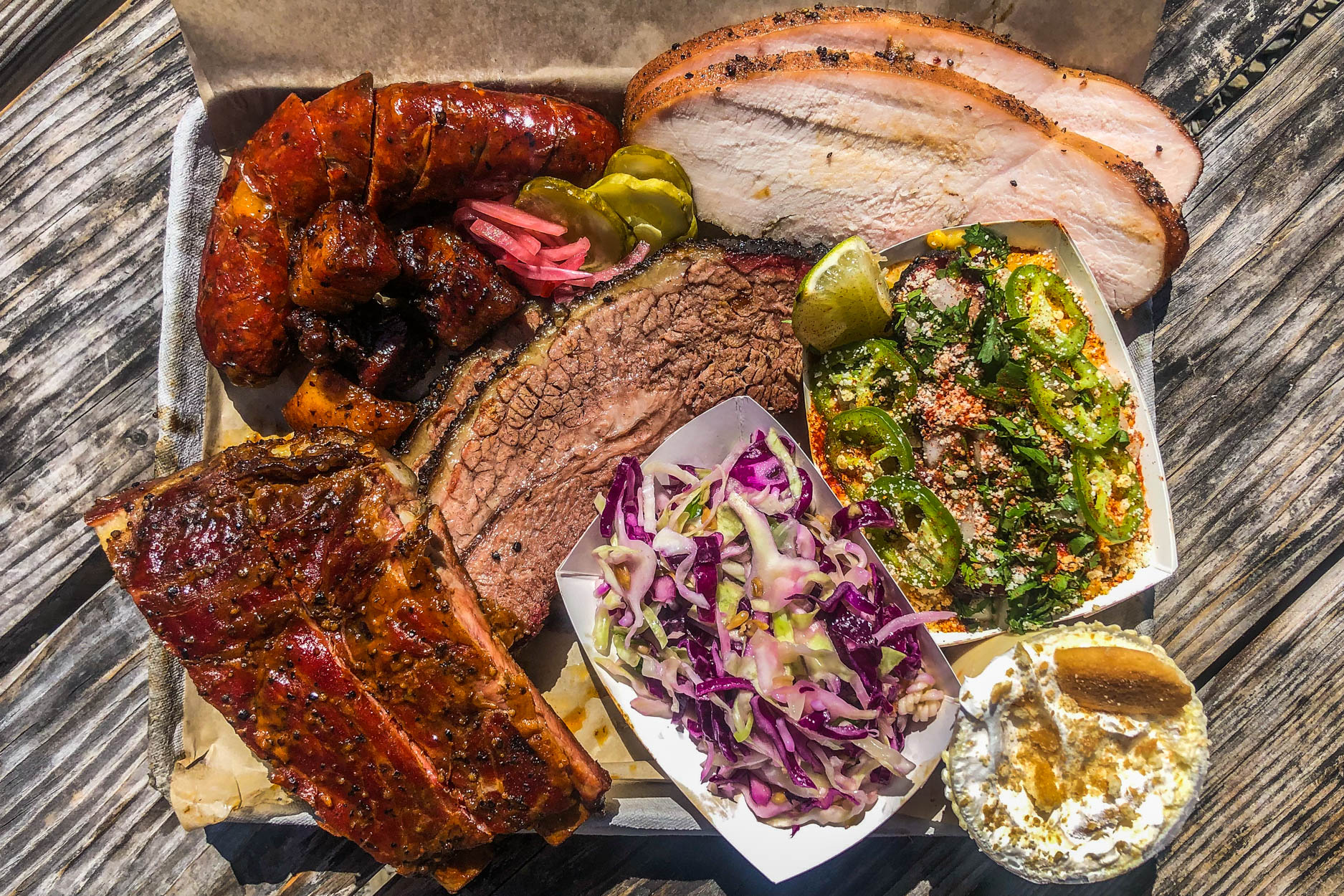 A tray at Holy Trinity Barbecue