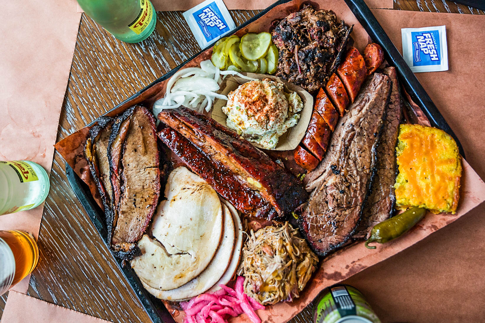 A fully loaded tray at Lewis BBQ