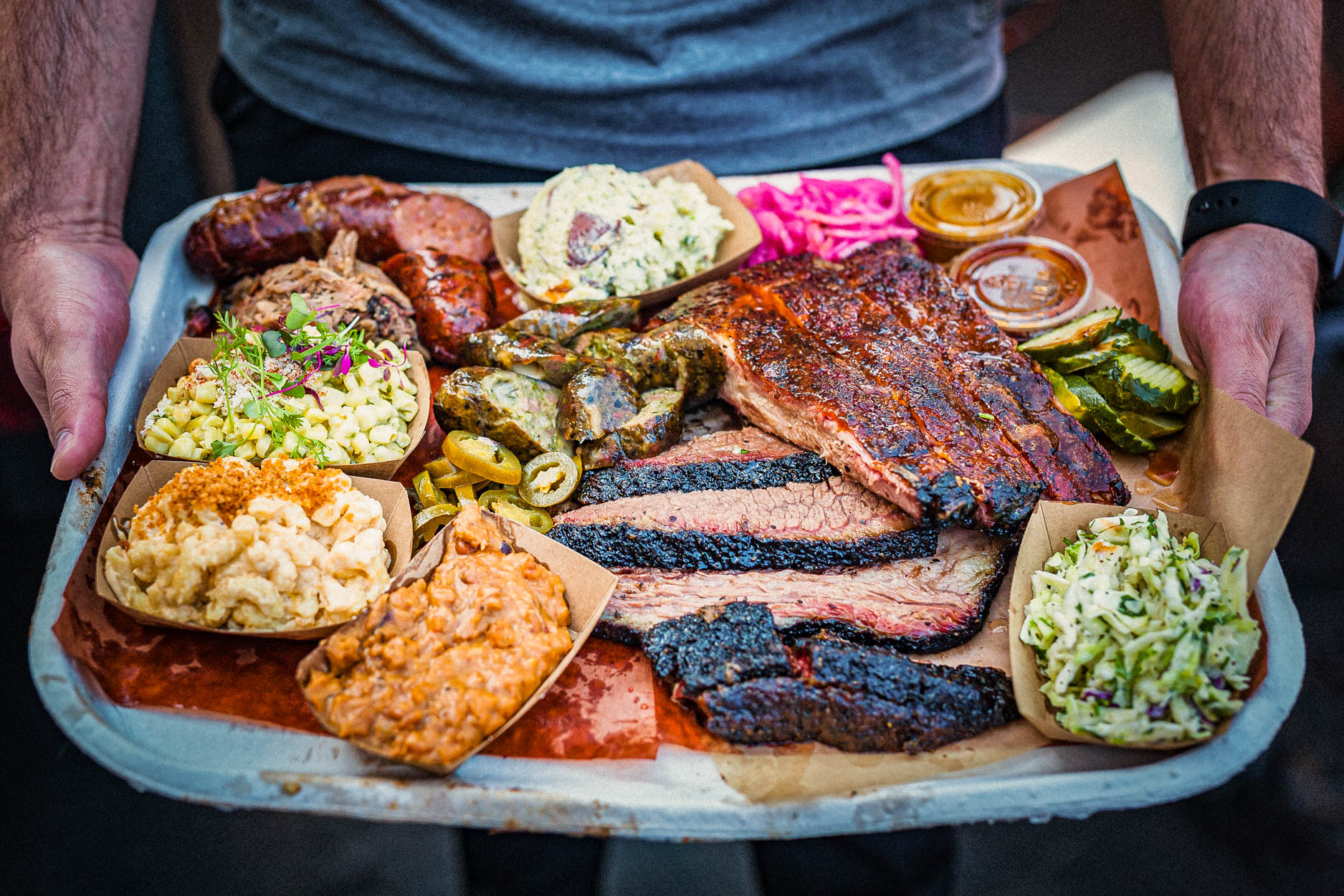 A tray of Moo's Craft Barbecue