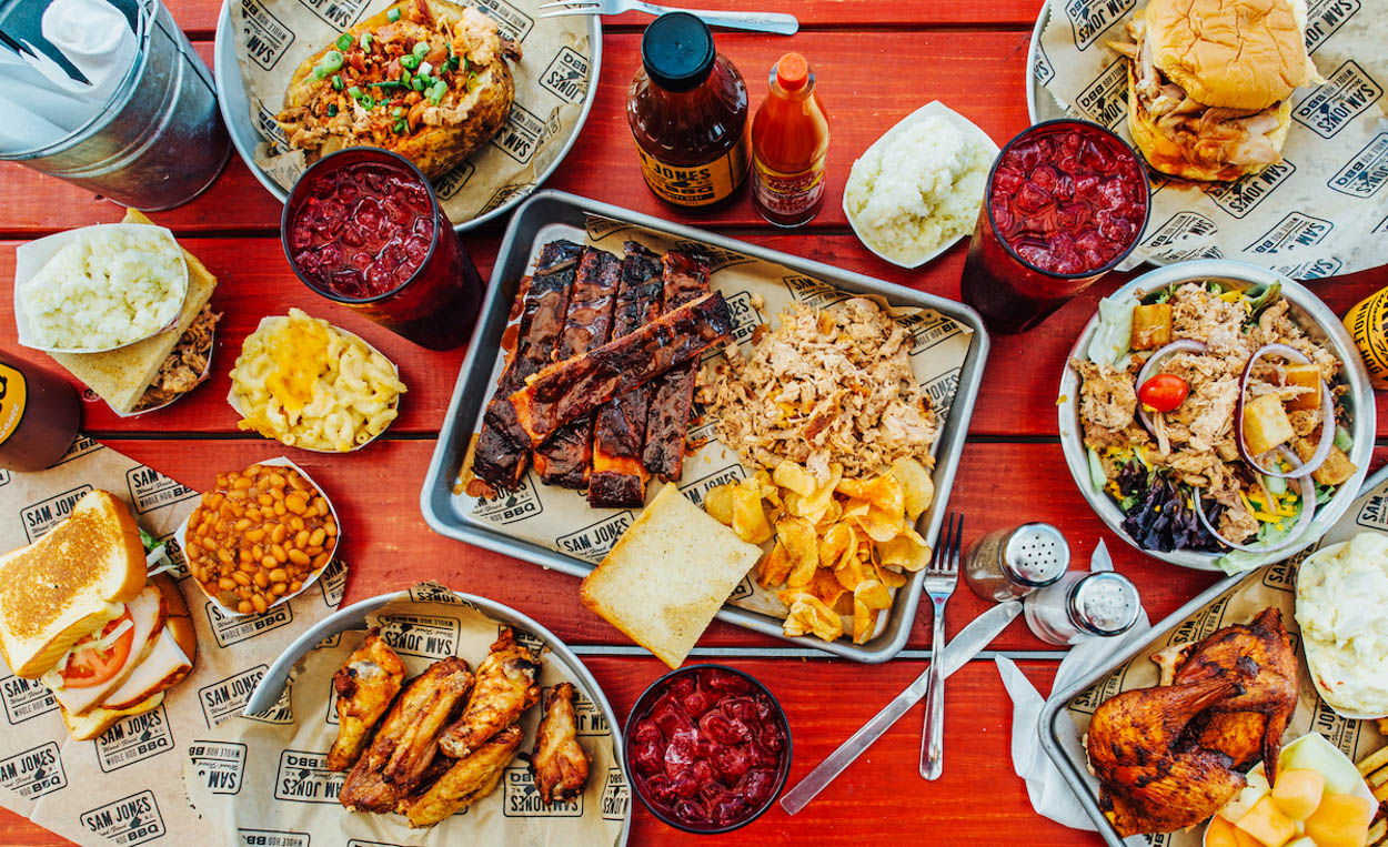 A spread at Sam Jones BBQ