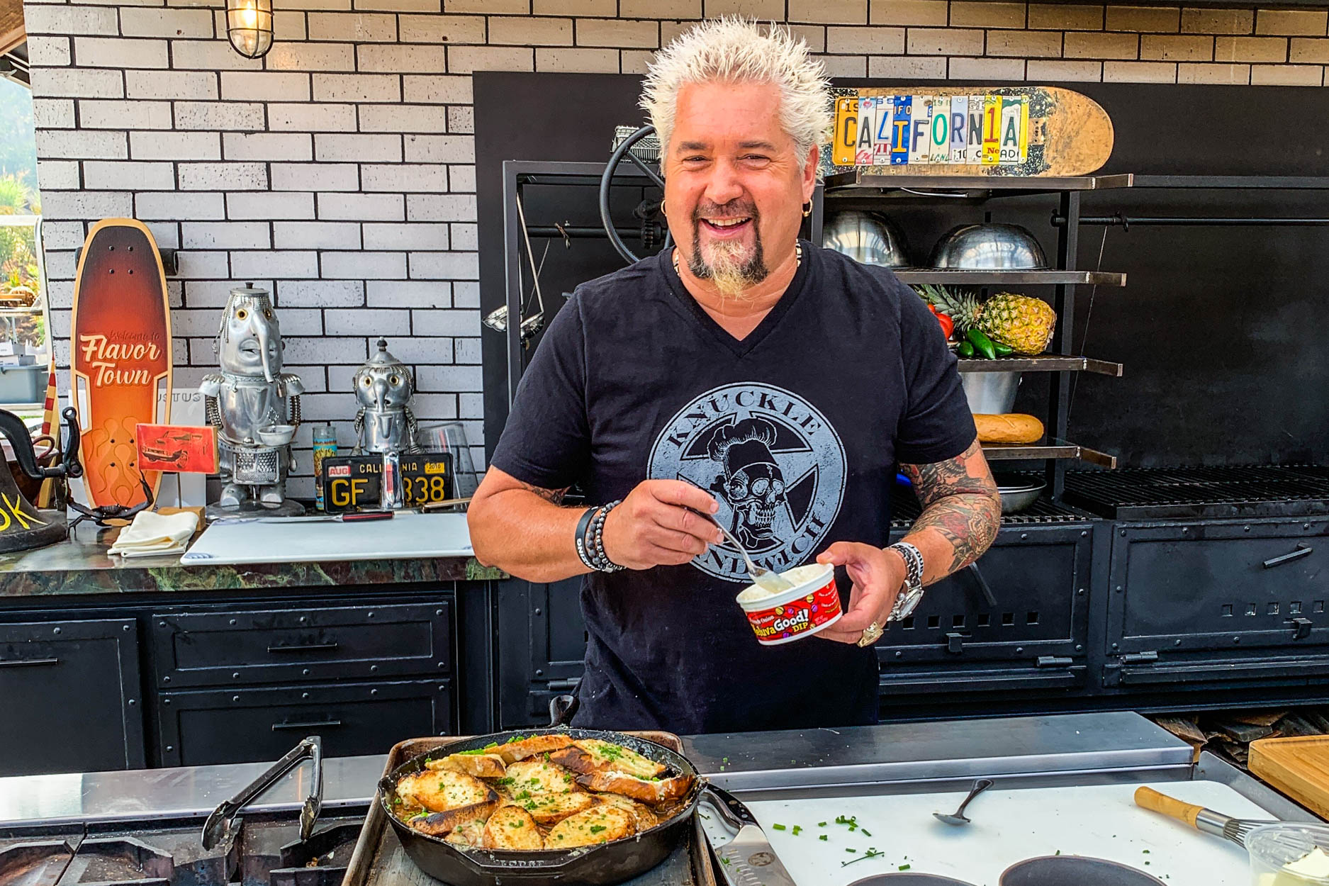 Guy Fieri in the kitchen with Heluva Good