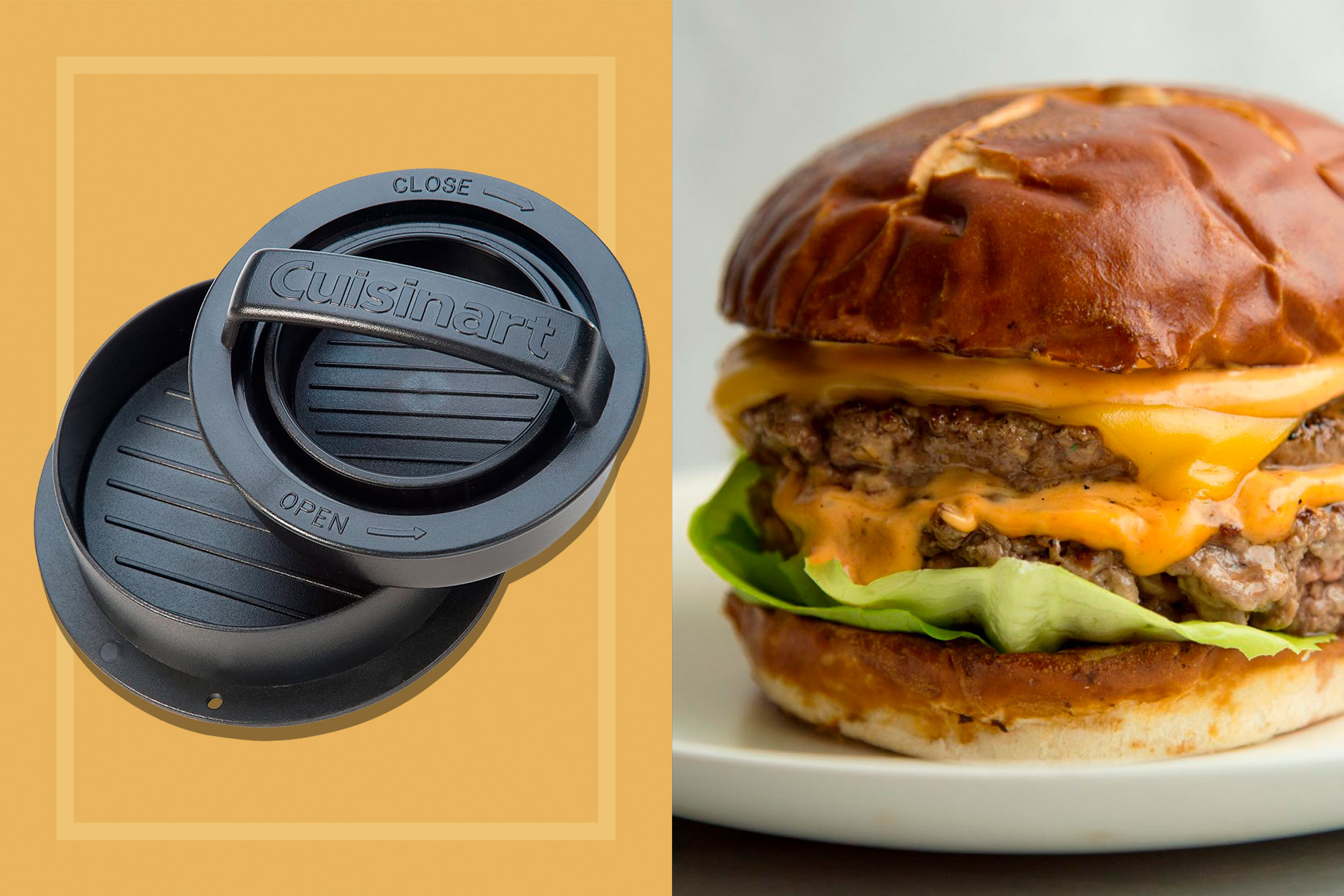 Cuisinart Burger Press alongside a cheeseburger