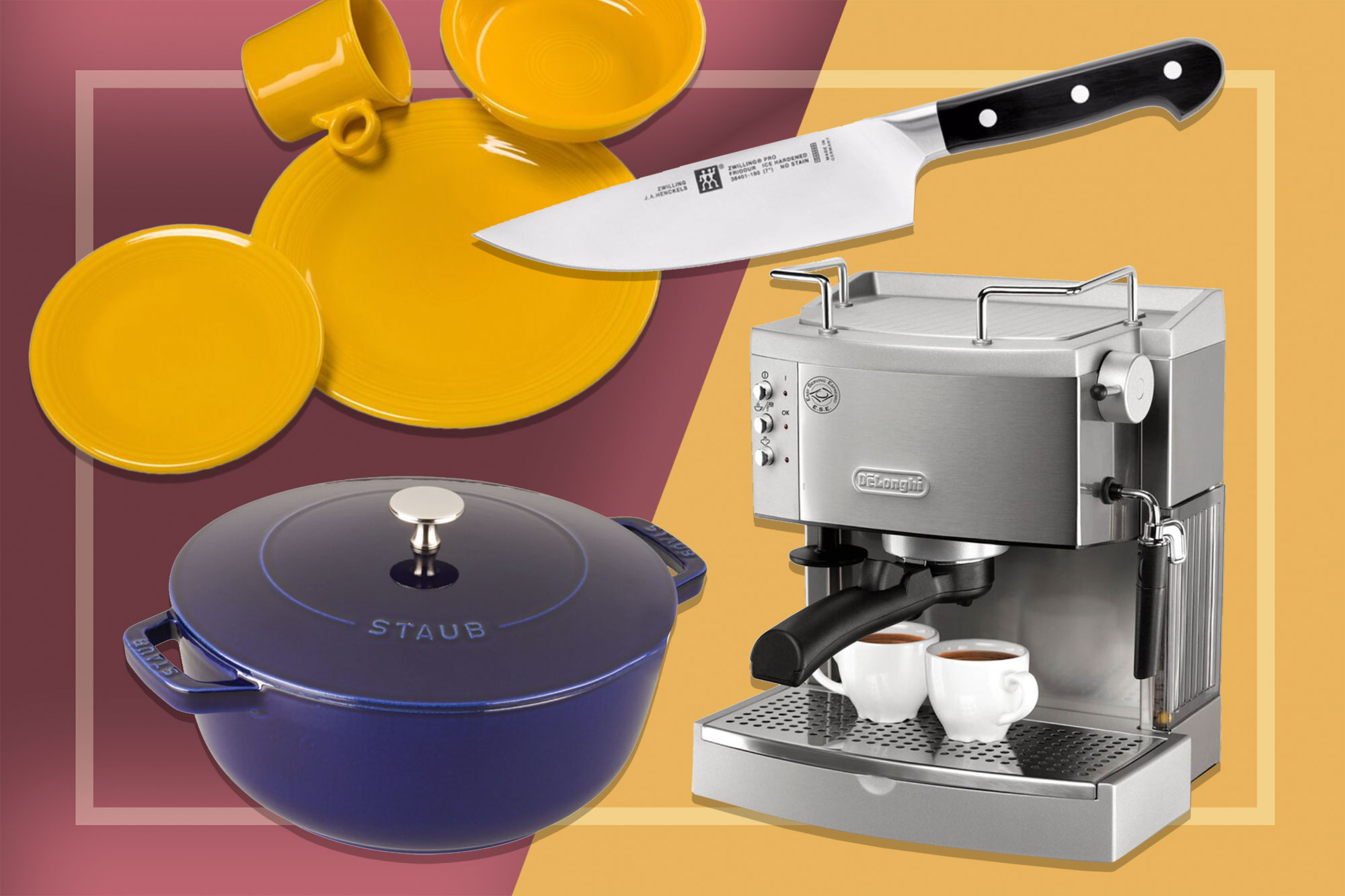Wayfair Sale Items: Fiesta Plates, Knife, Espresso Machine, Staub Dutch Oven