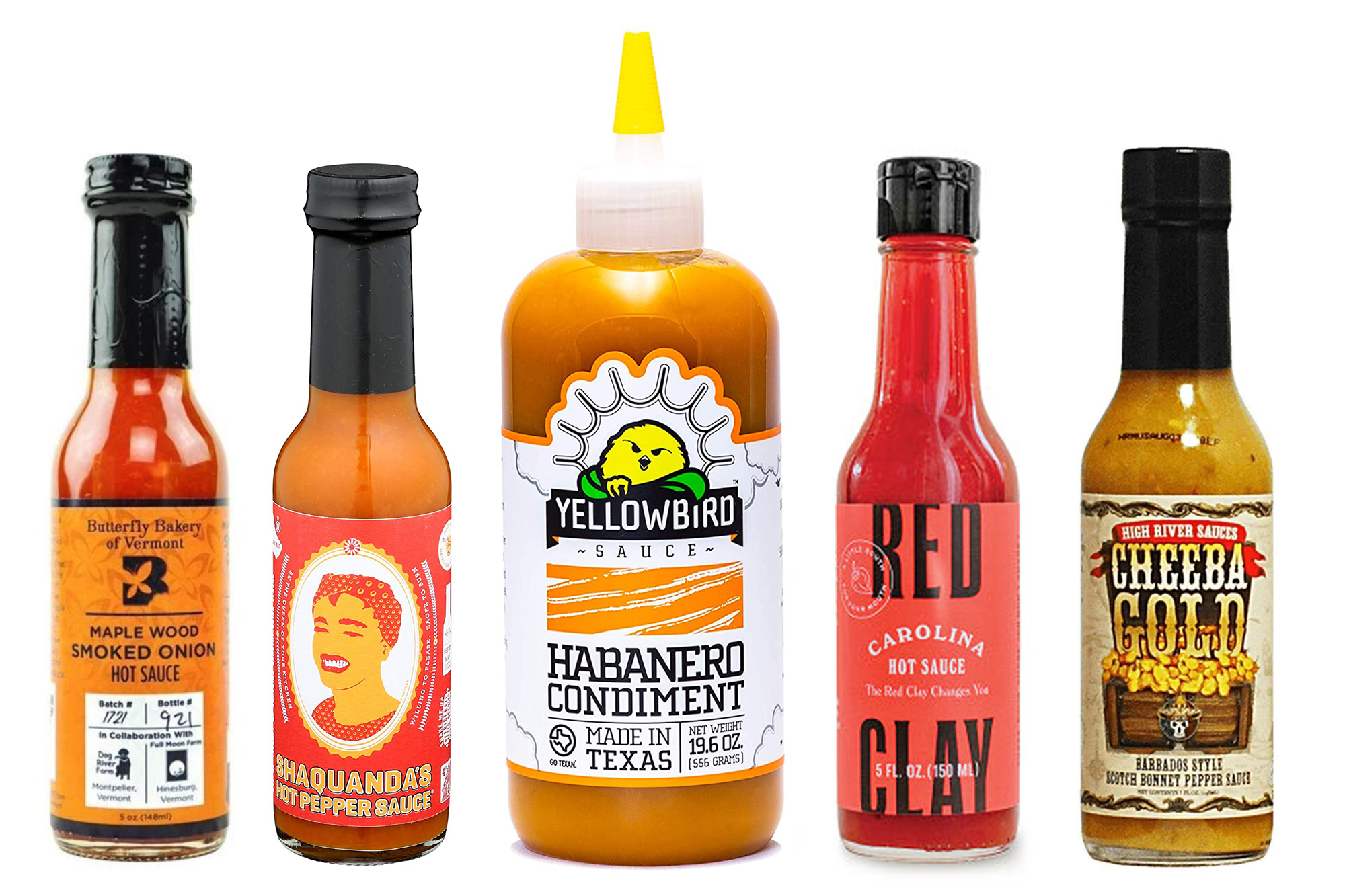 yellowbird and red clay hot sauces