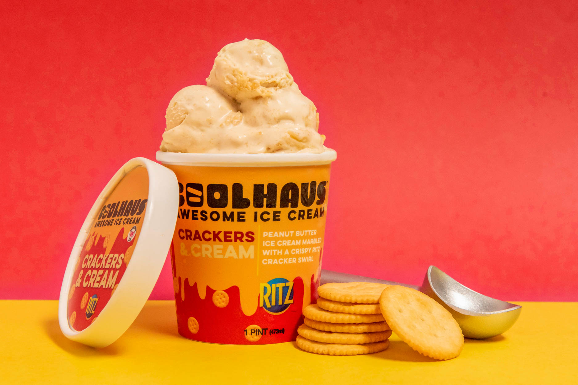 Crackers & Cream Flavored Coolhaus Ice Cream with Ritz Crackers