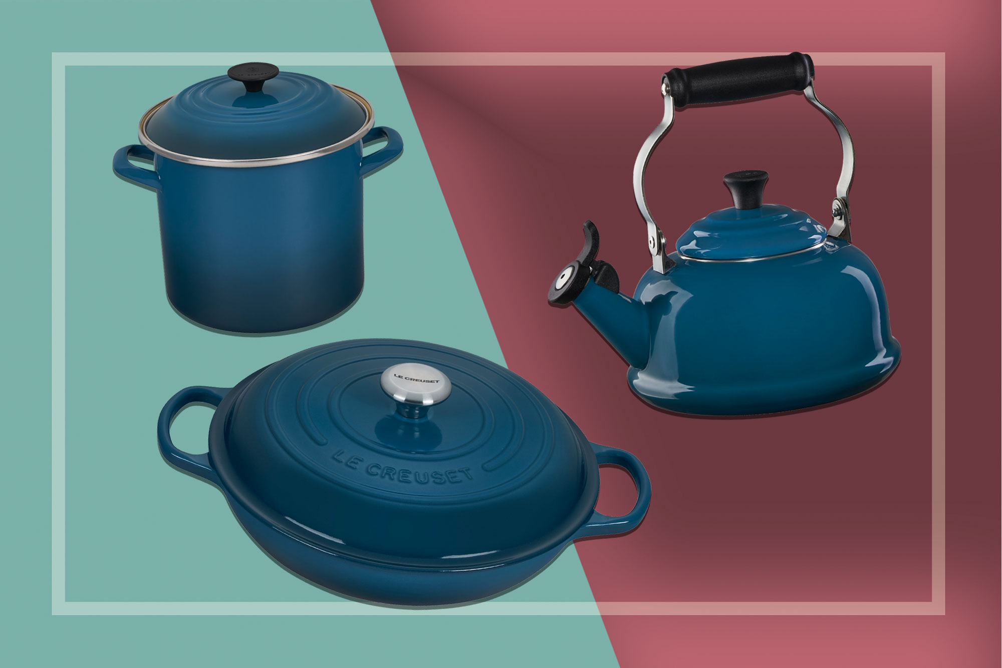 Le Creuset products in deep teal