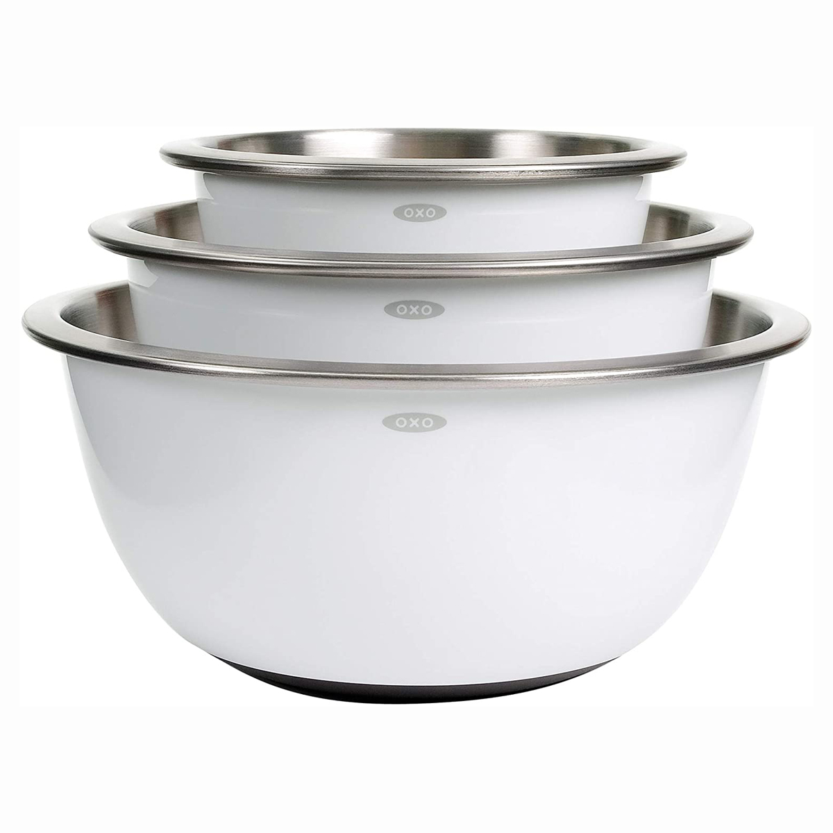 OXO Grips stainless steel mixing bowls in white