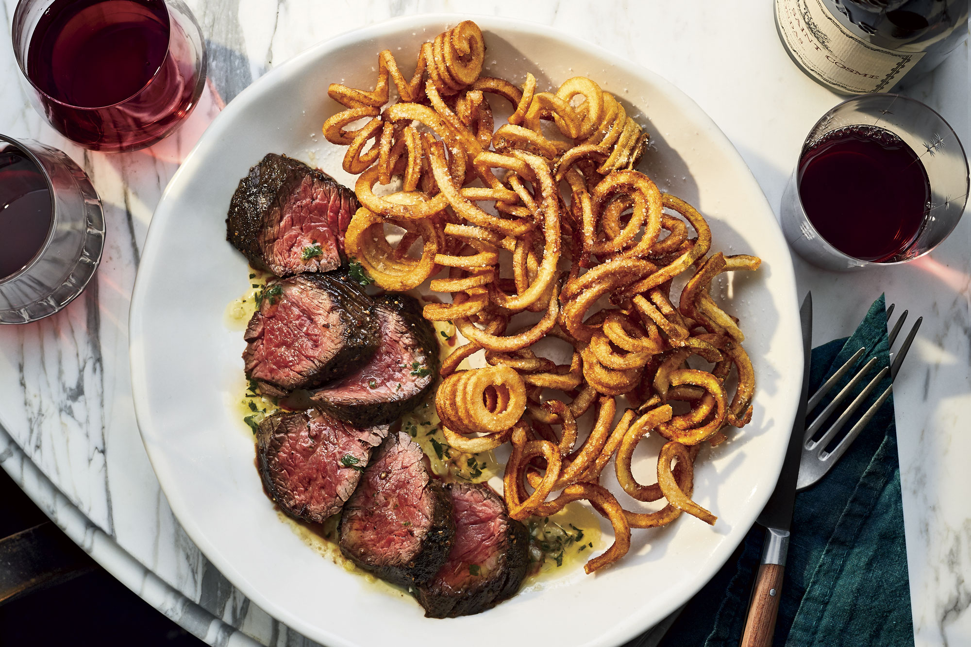 Steak Frites with Red Wine