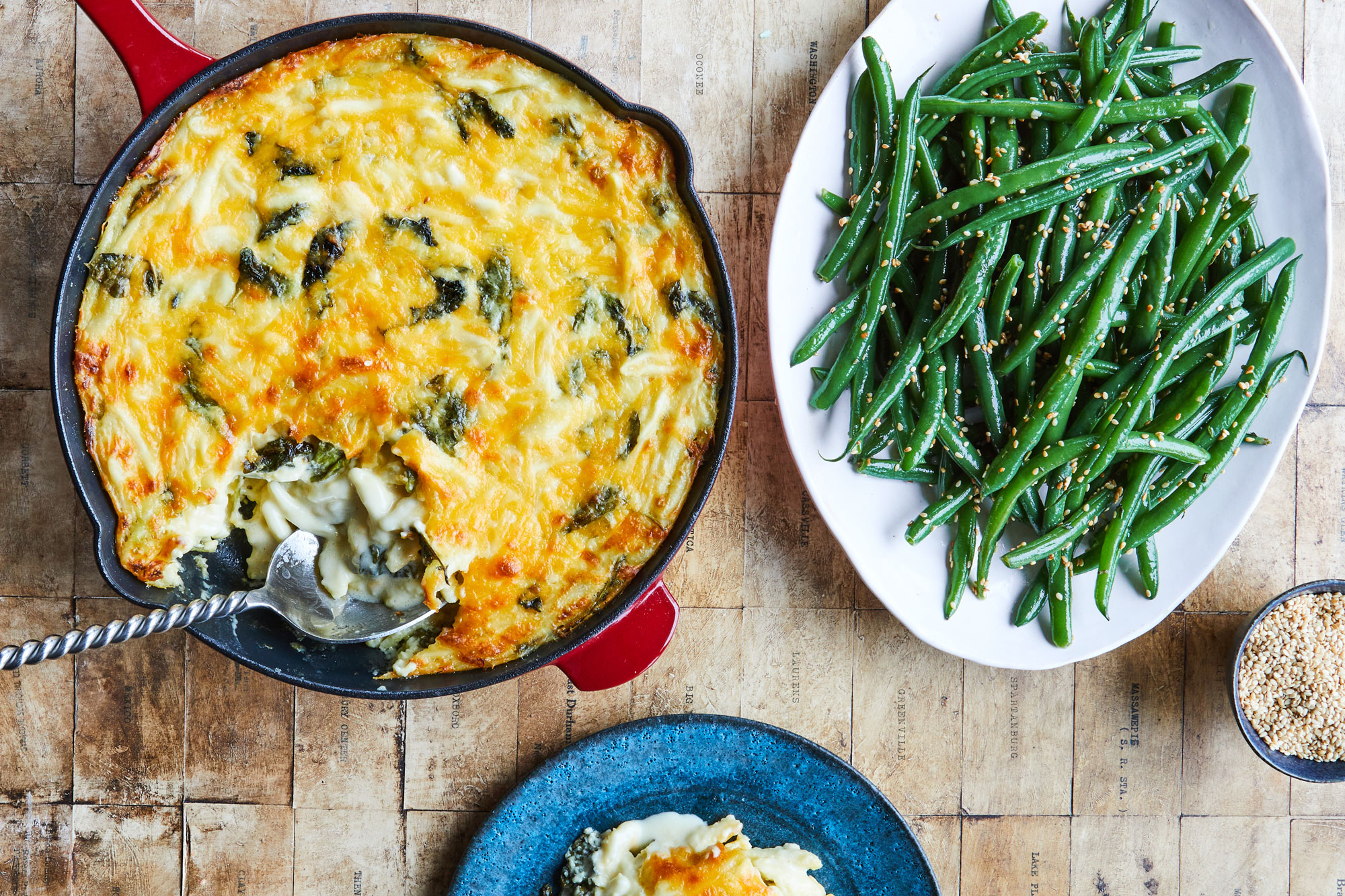 buttermilk macaroni and cheese and sautéed green beans