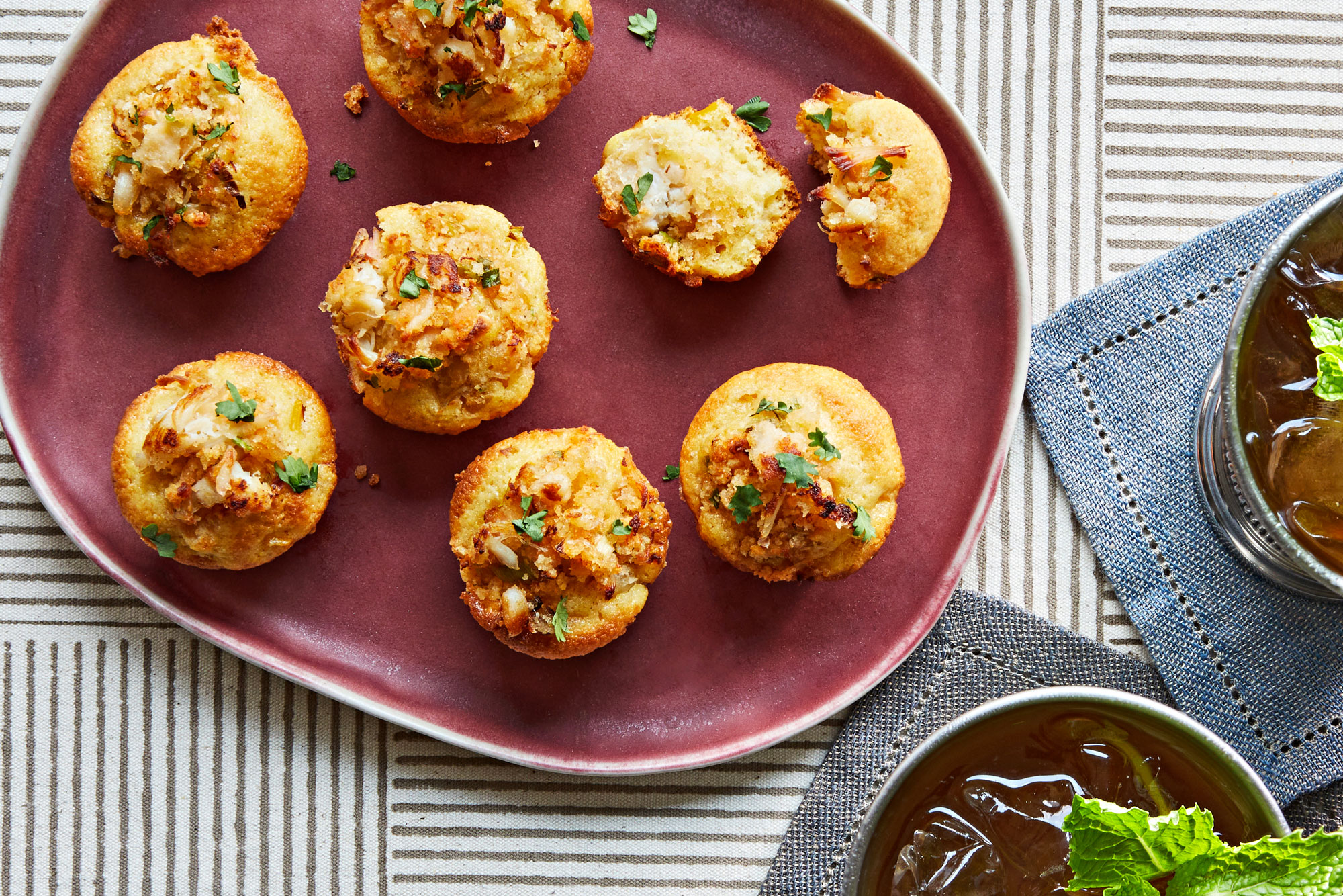 Deviled Crab Stuffed Mini Cornbread Muffins