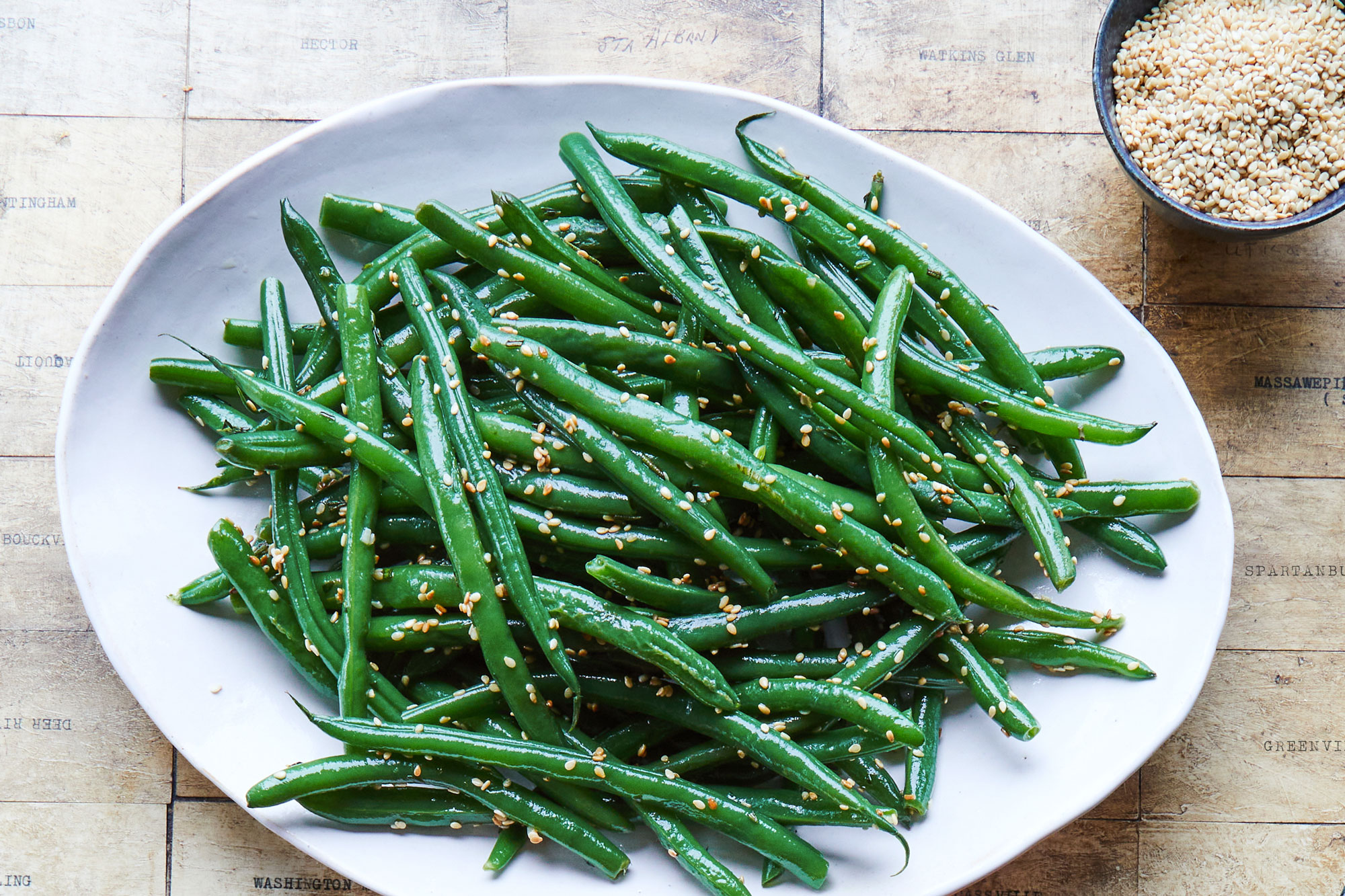 Sauteed Green Beans with Toasted Benne Seeds