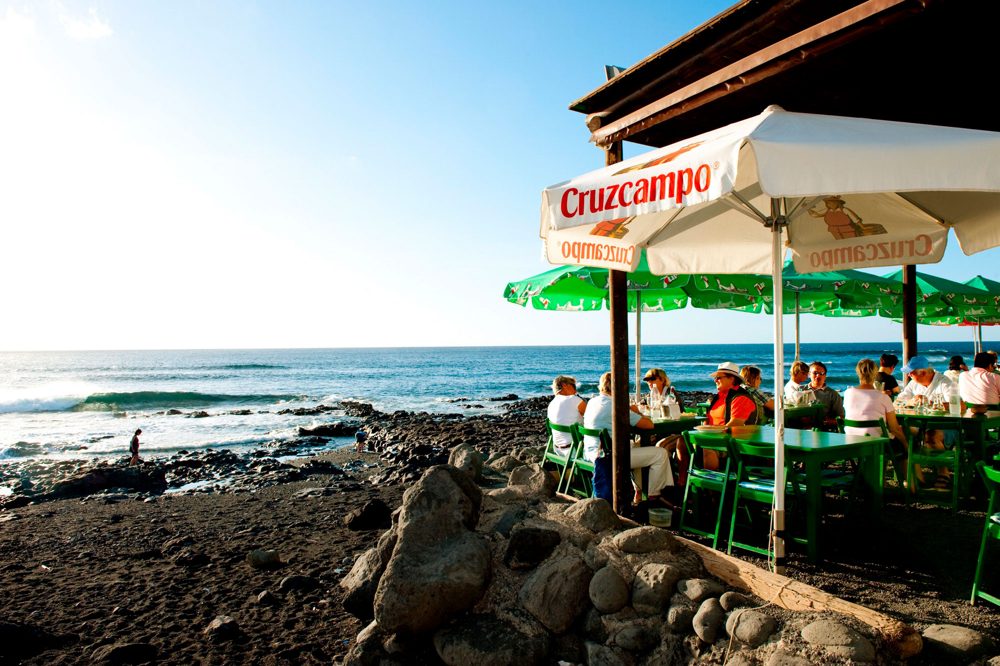 One of the many seaside bars in El Golfo, a fishing village on Lanzarote.
