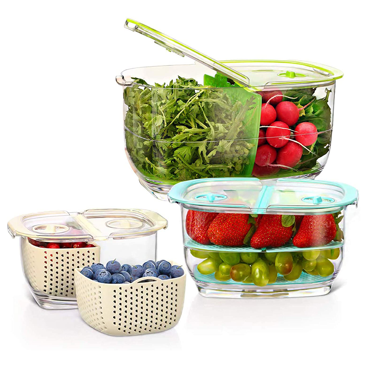 LUXEAR Fresh Produce Vegetable Fruit Storage Containers 3Piece Set