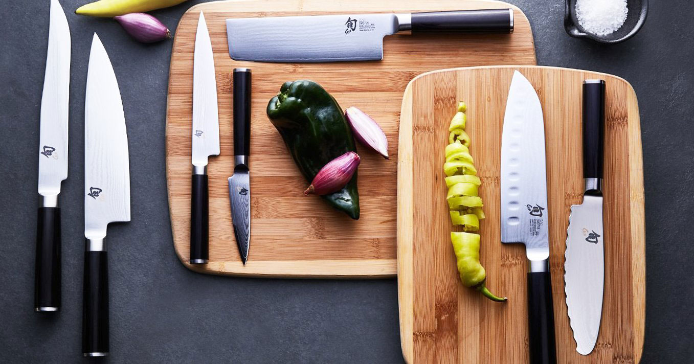 Knives on cutting boards