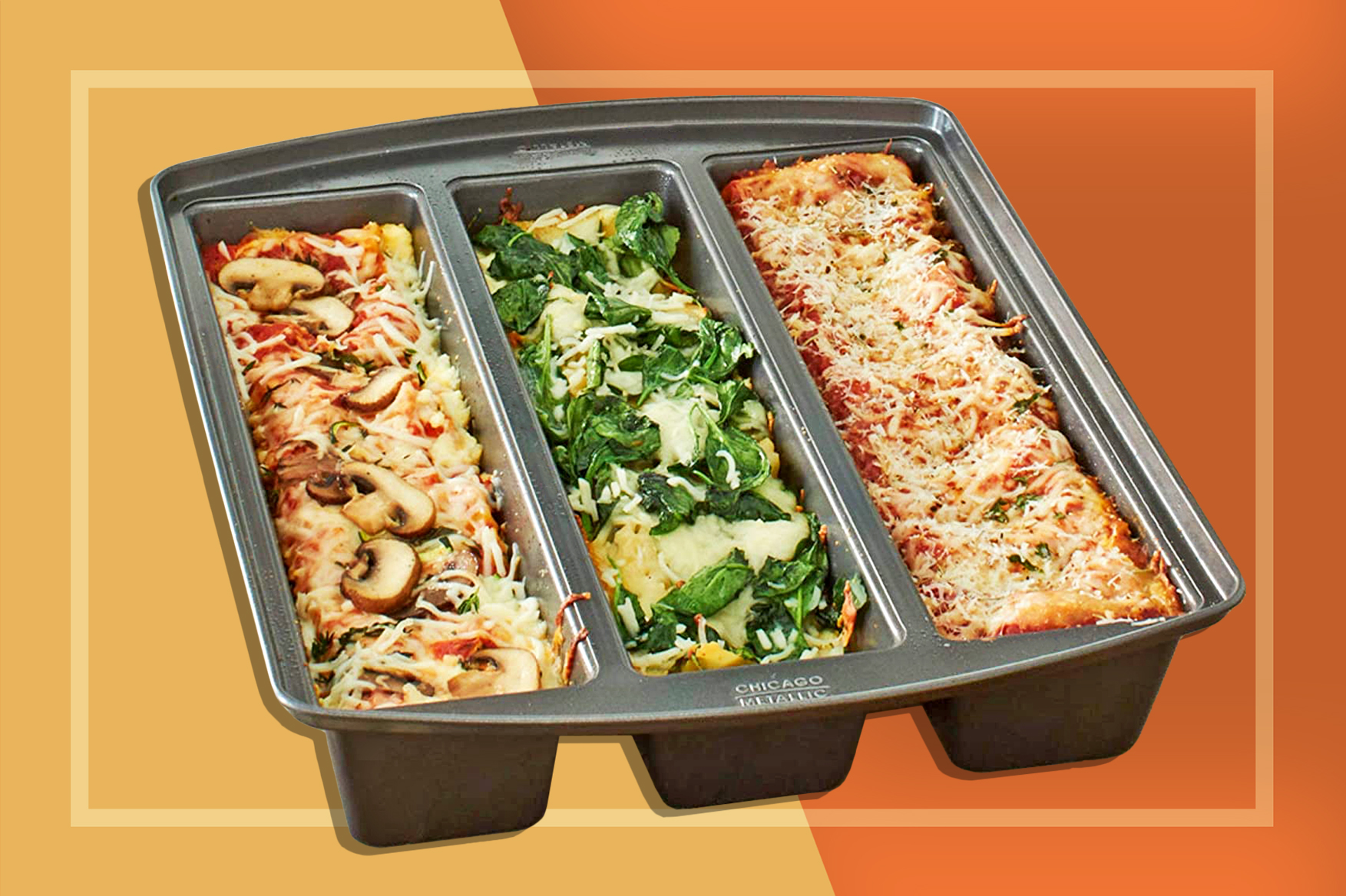 Lasagna pan with three section