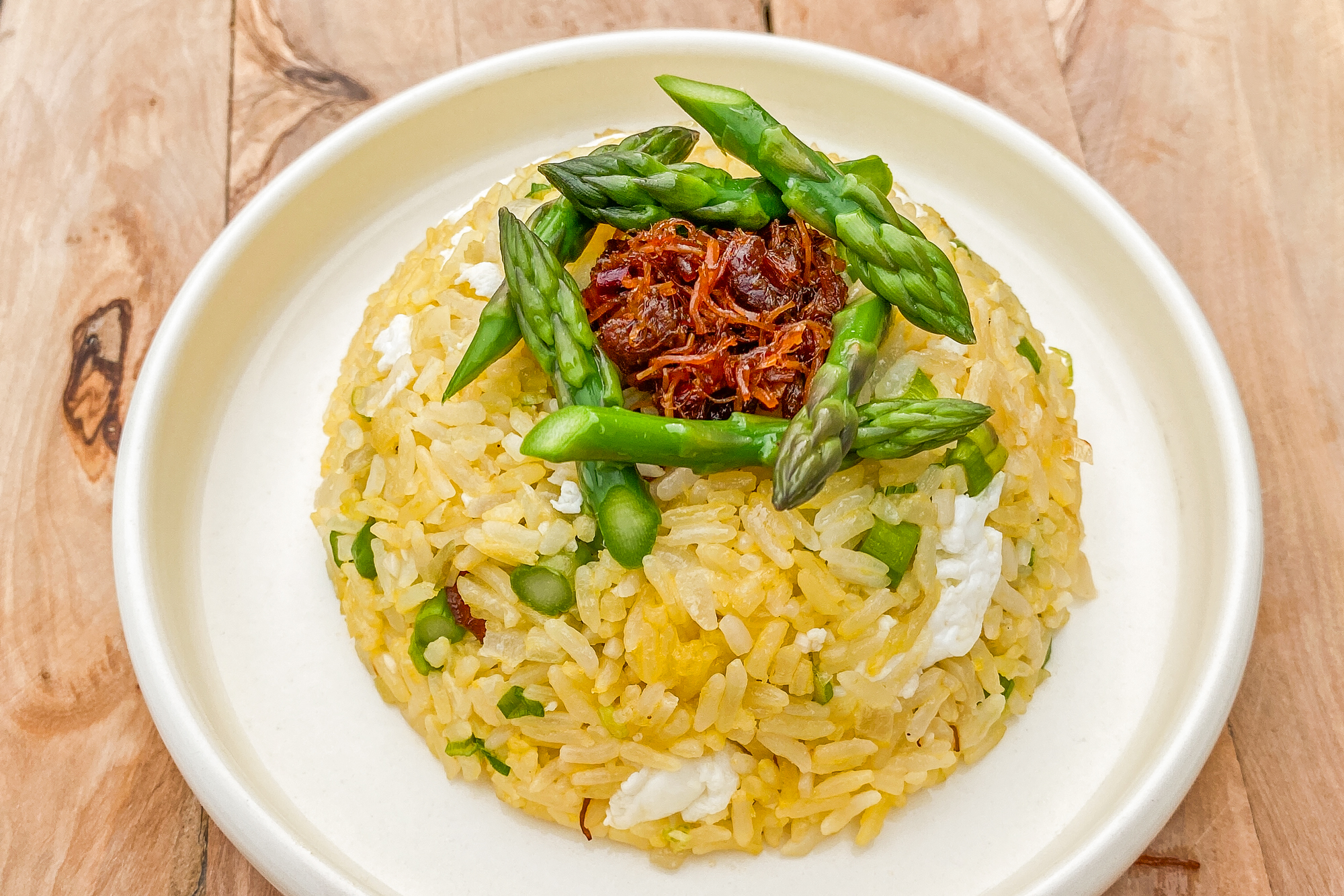 Golden Fried Rice with Asparagus and XO Sauce