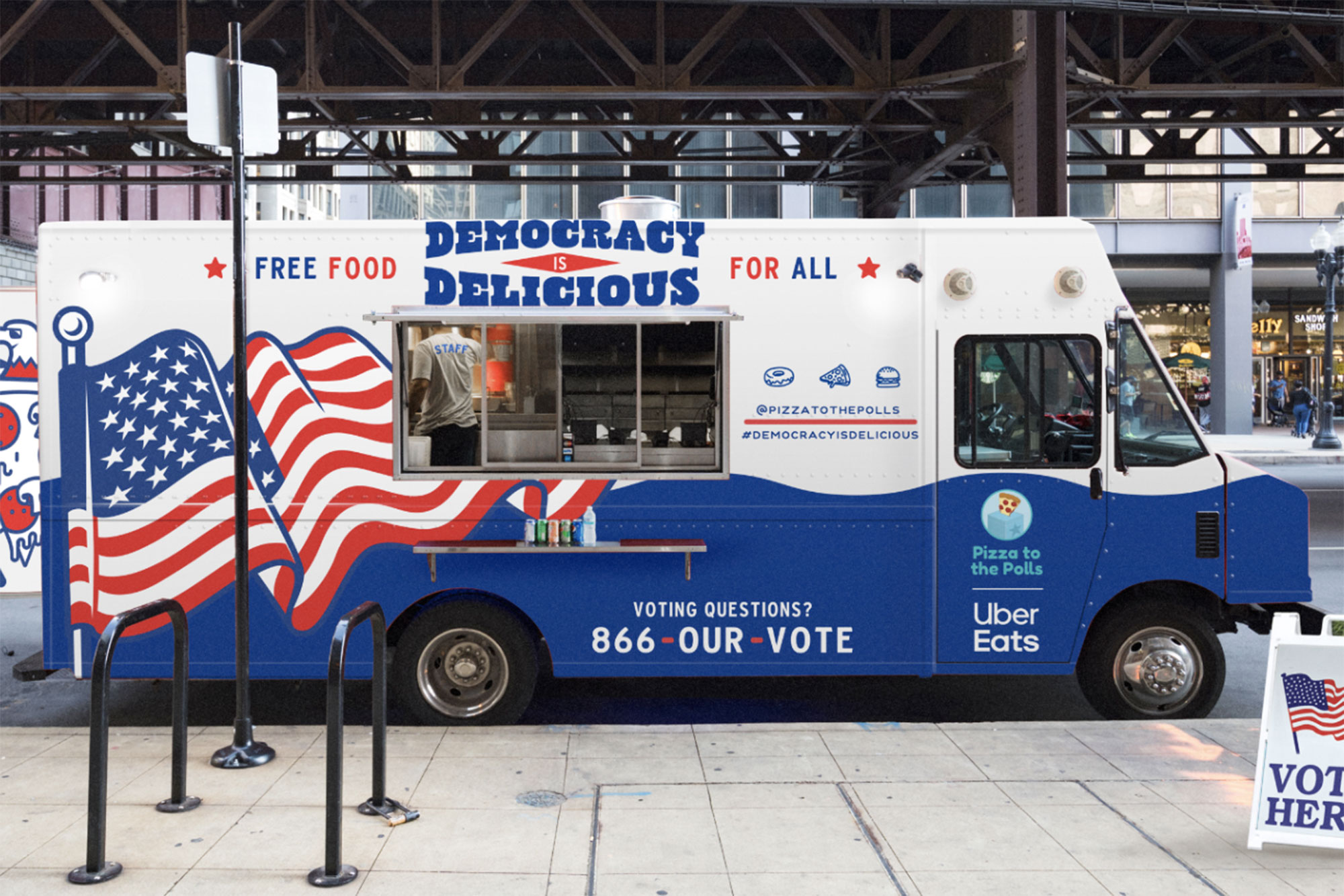 An Uber Eats truck supplying food for voters on election day