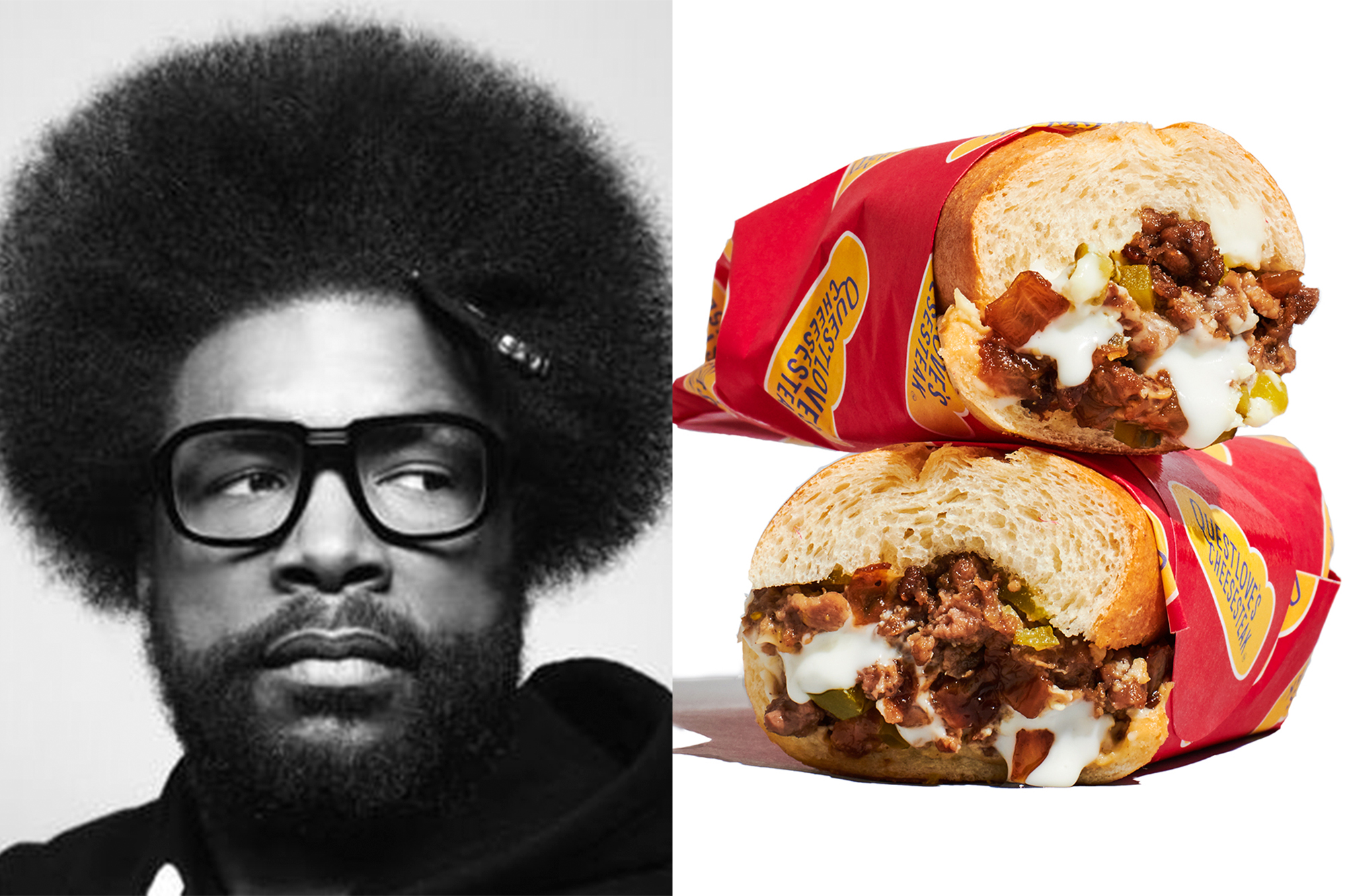 Portrait of Questlove and photo of cheesesteak sandwiches