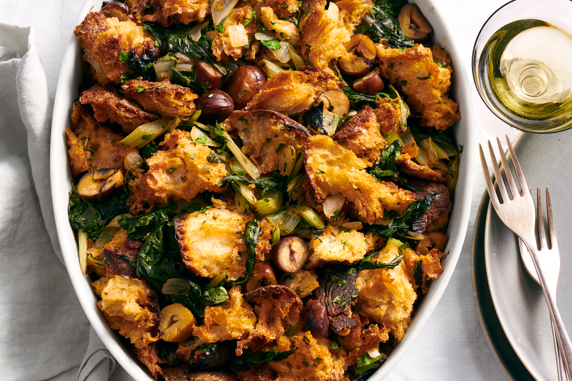 Rustic Bread Stuffing with Swiss Chard and Chestnuts
