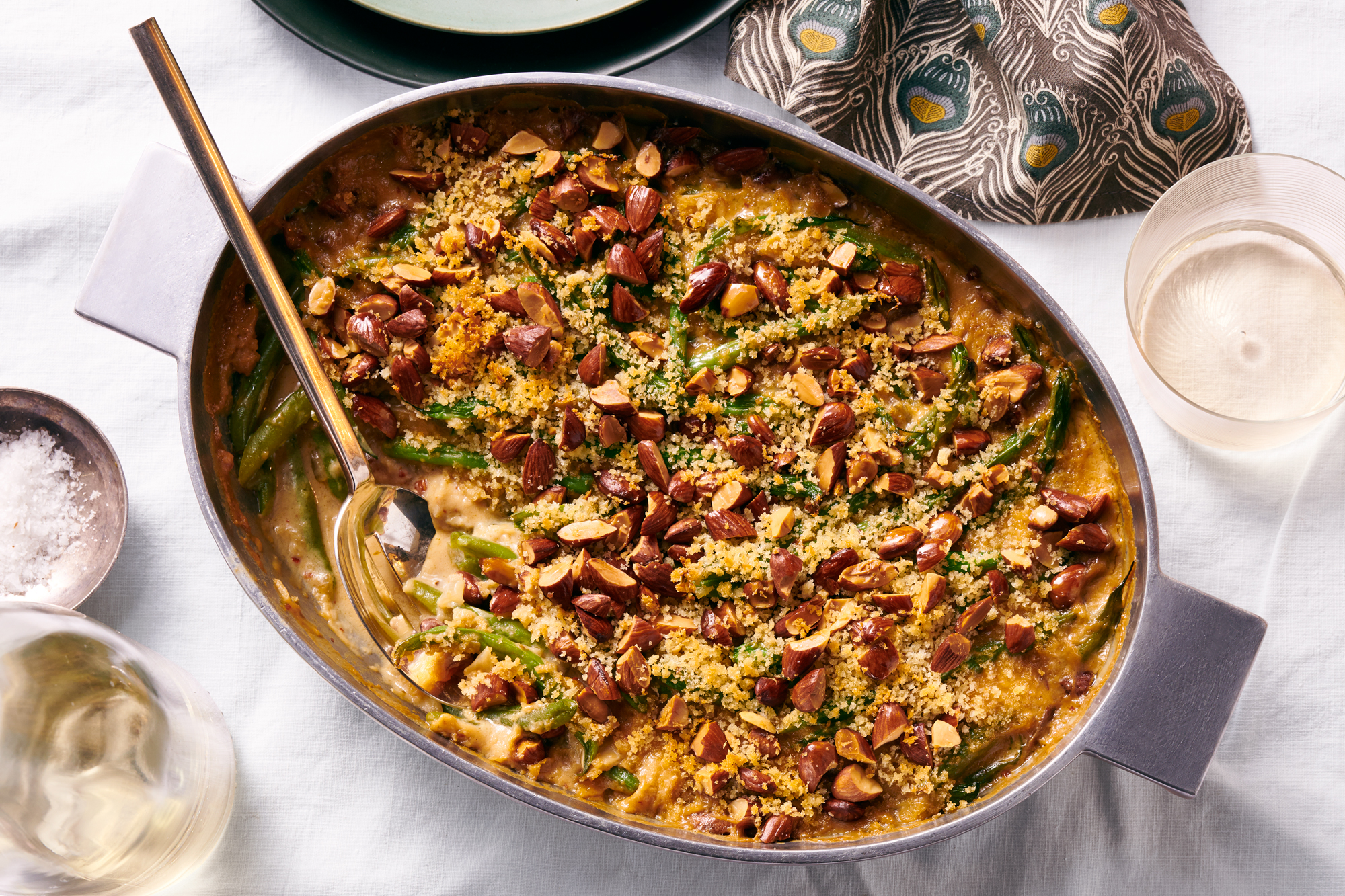 Green bean casserole with almost burnt almonds