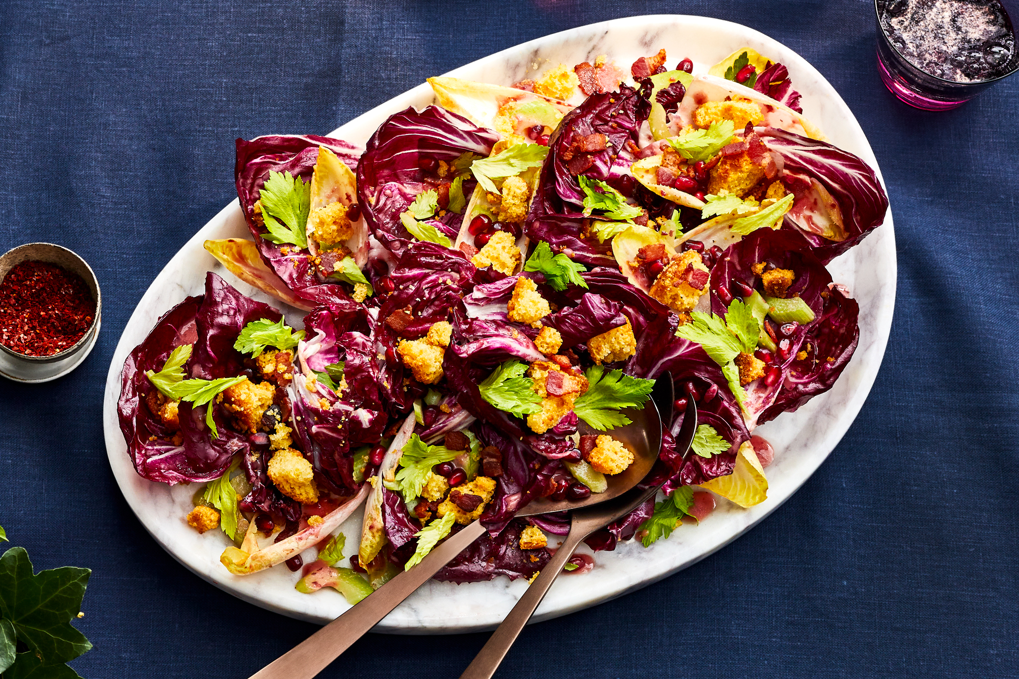 Chicory salad with cranberry sauce vinaigrette
