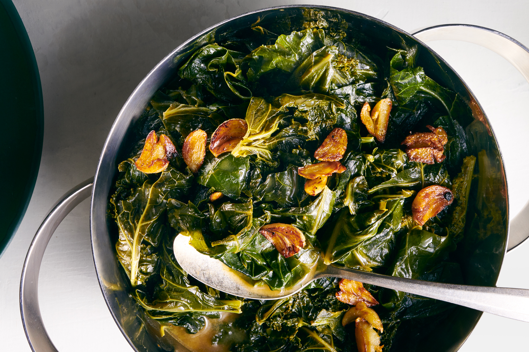 Braised Greens with Crispy Garlic and Miso Butter
