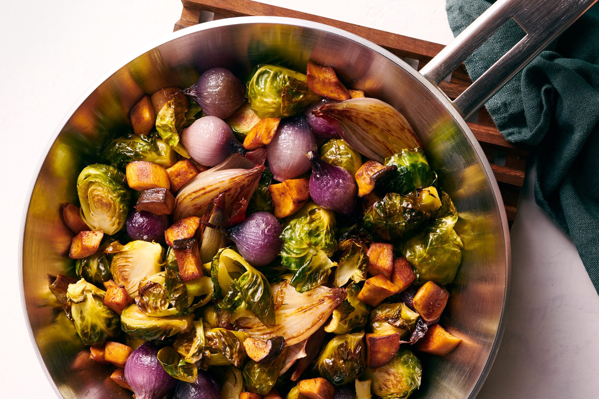Brussels sprouts with onions and mushroom lardons