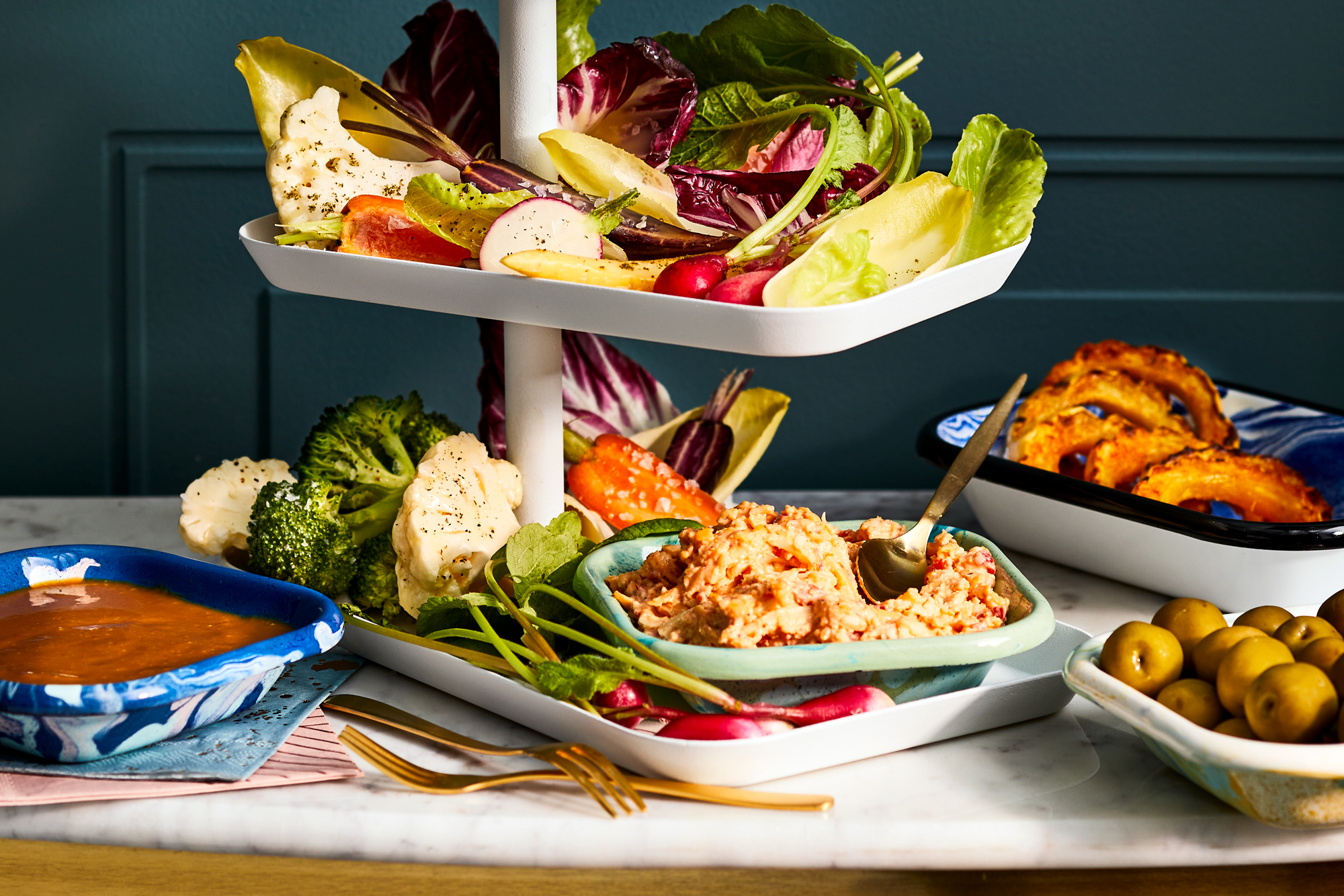 Fall Crudites Platter with Pimiento Cheese and Shiro Miso Dip