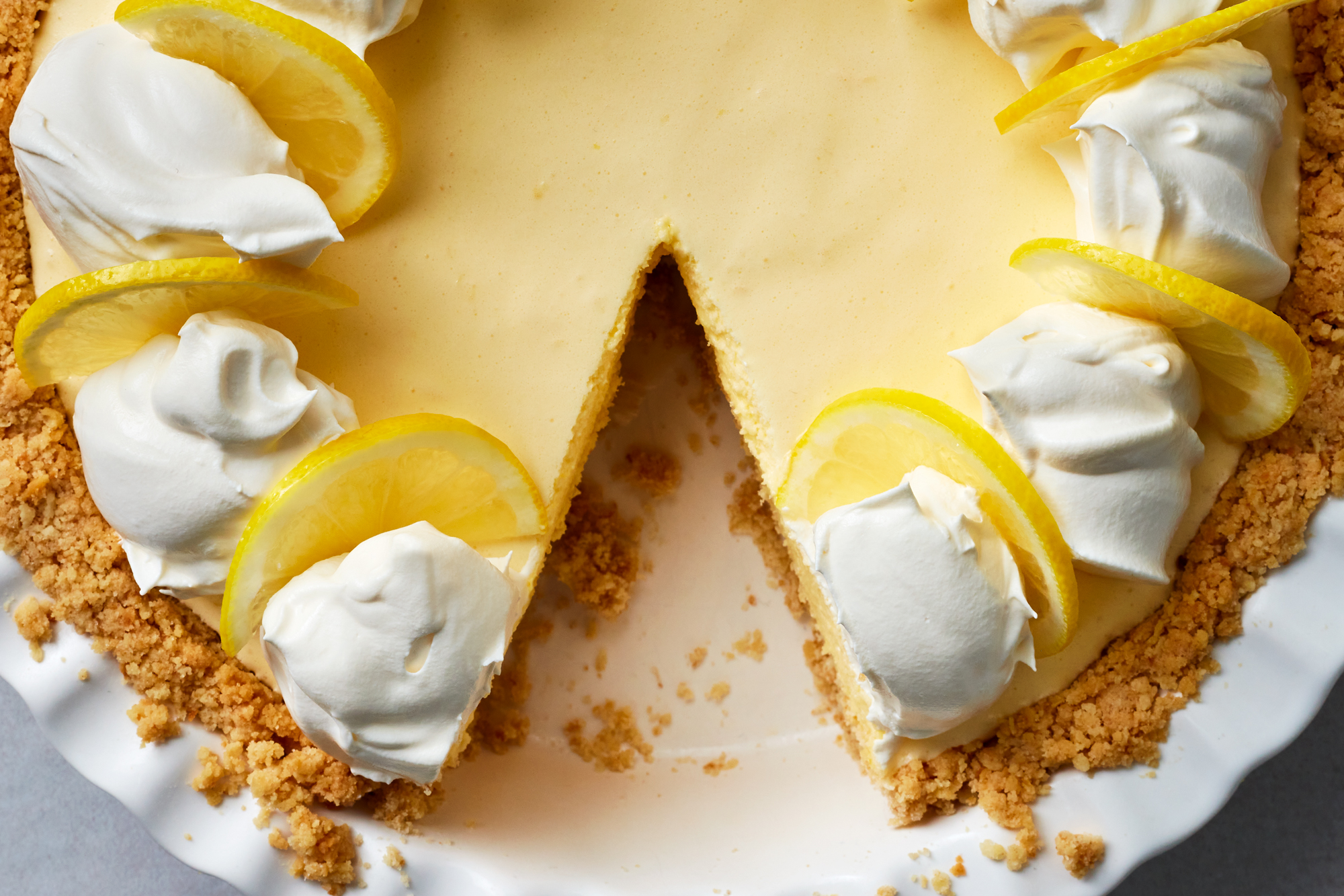 Lemon chiffon pie with saltine cracker crust