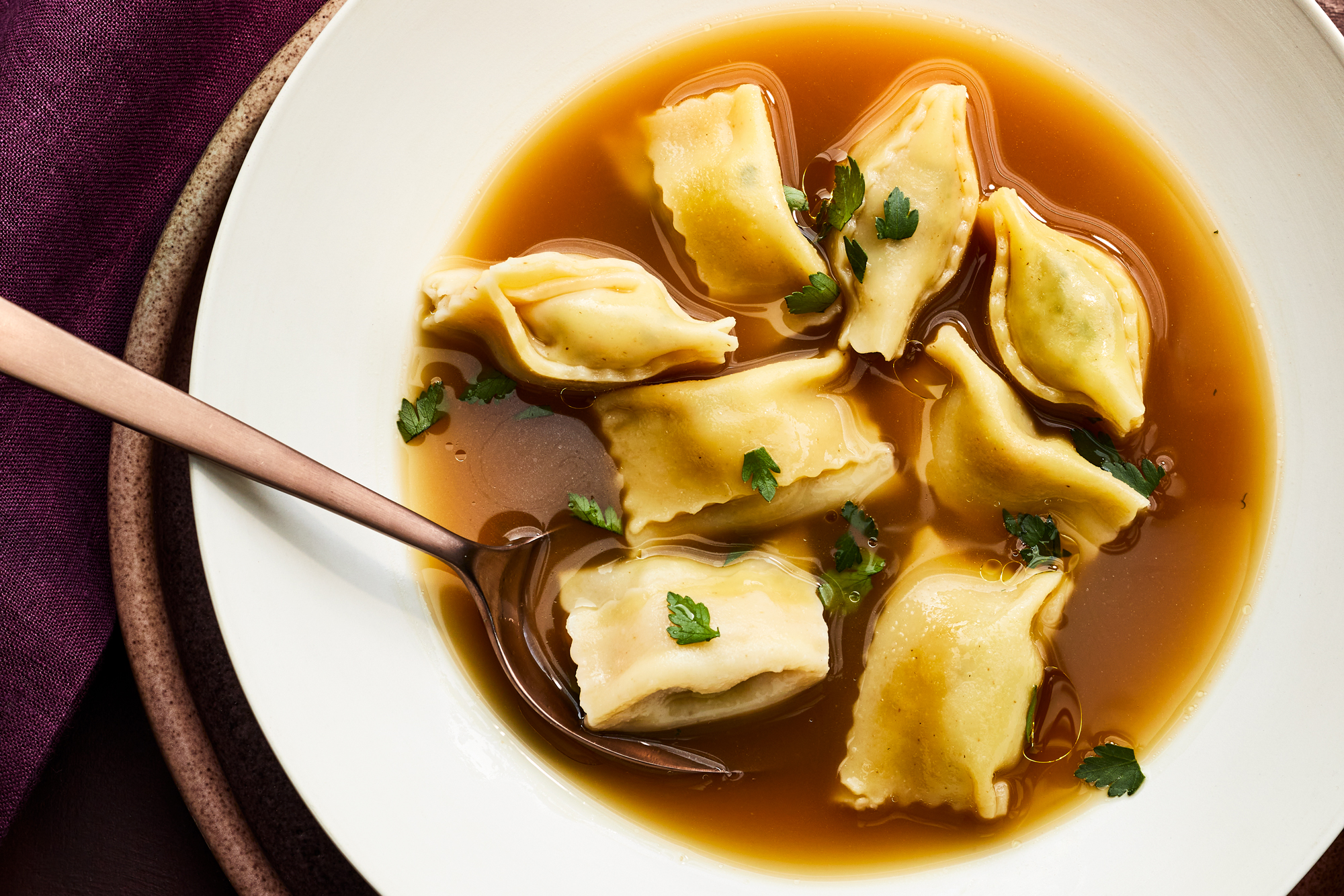 Mashed Potato and Ham Agnolotti in Turkey Bone Broth