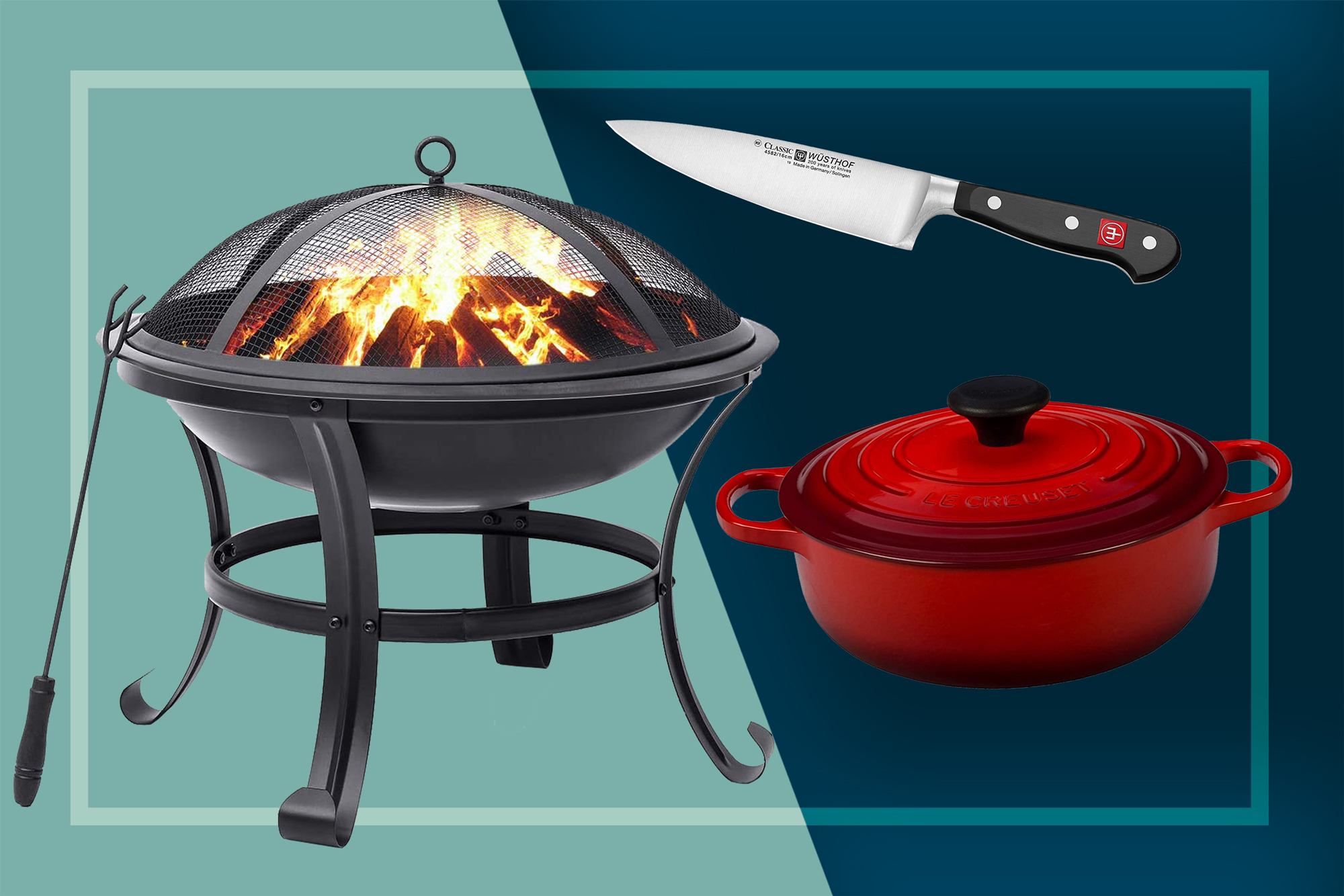 Fire pit, le creuset dutch oven, chef's knife