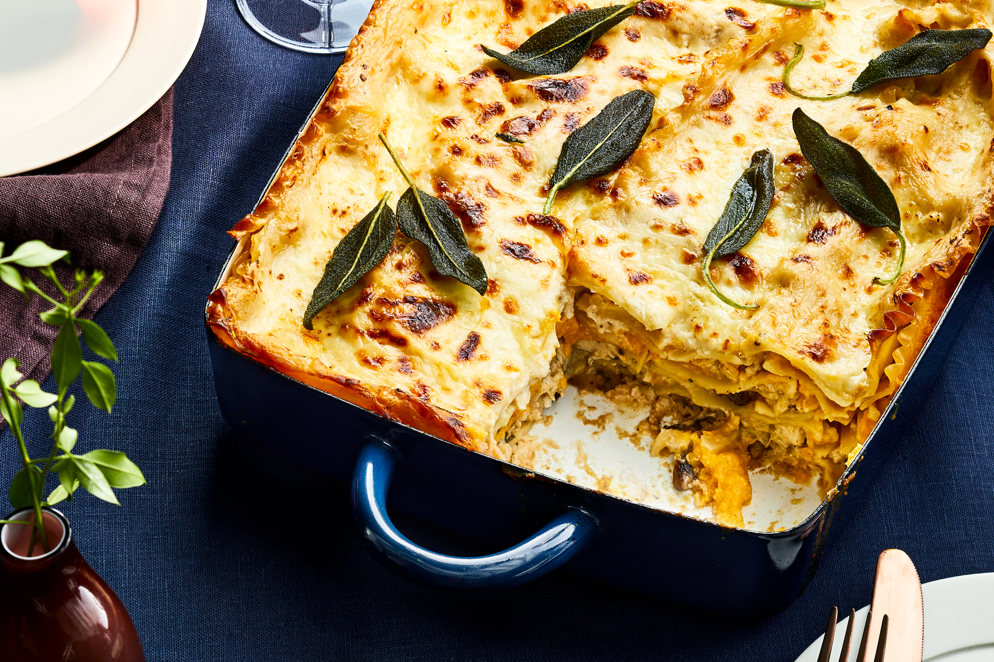 Turkey and butternut squash lasagna with crispy sage